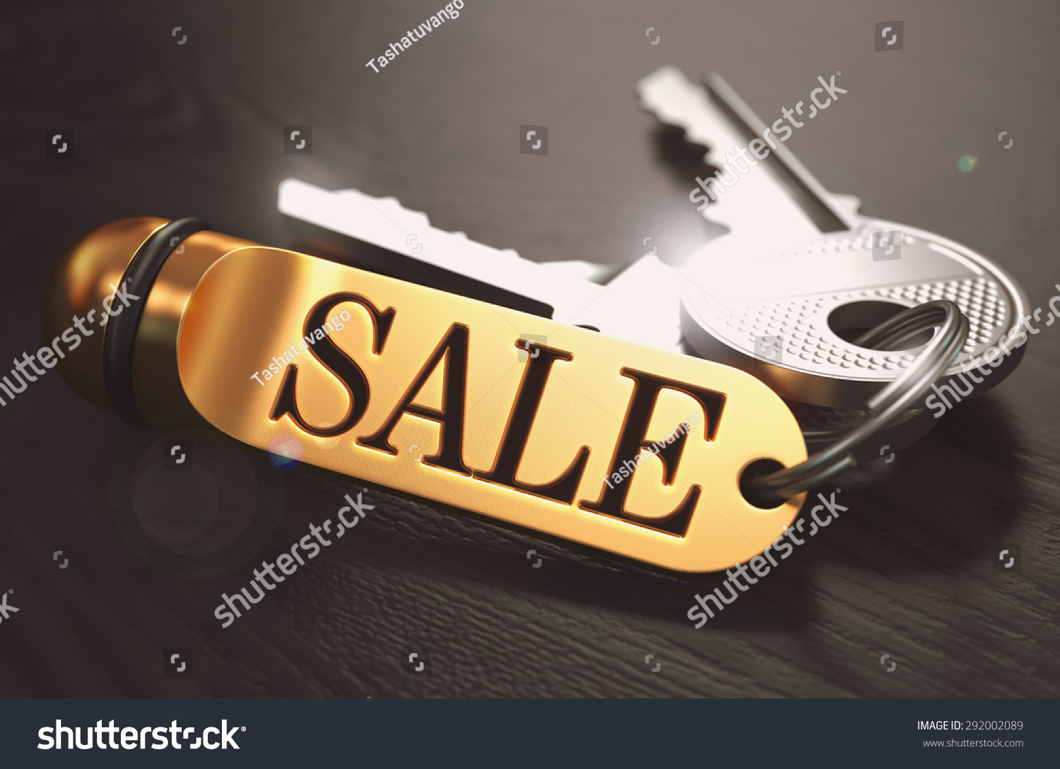 With golden key 3d rendering plan concept with golden key 3d rendering - Sale Bunch Of Keys With Text On Golden Keychain Black Wooden Background Closeup