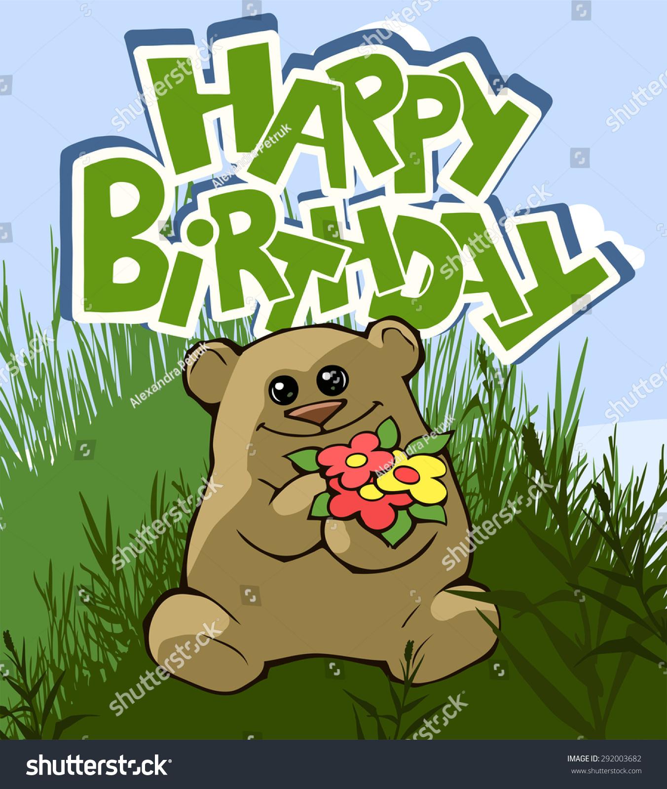 Happy birthday greeting card teddy bear stock vector hd royalty happy birthday greeting card with a teddy bear holding flowers izmirmasajfo