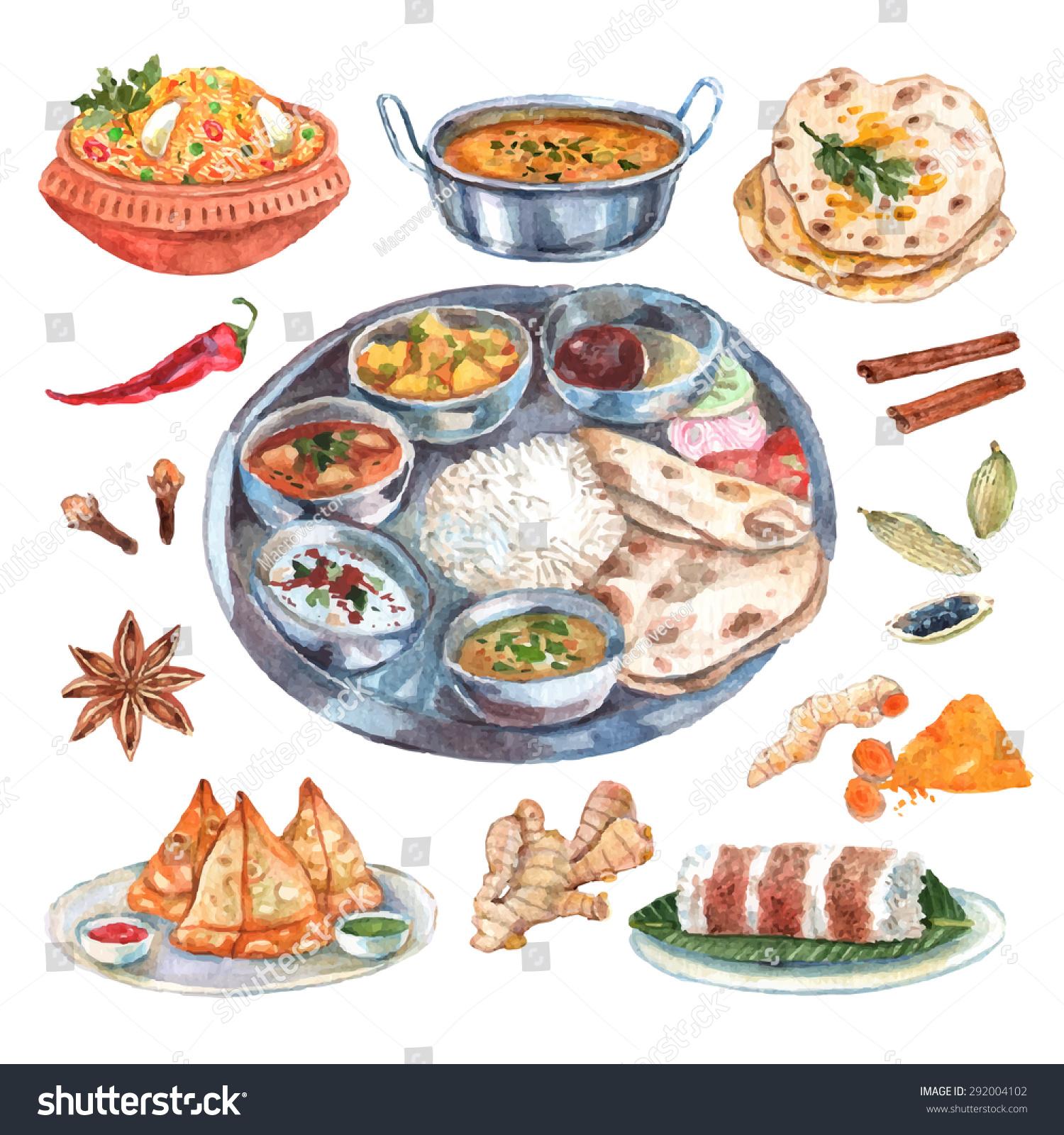 traditional indian cuisine restaurant food ingredients stock vector 292004102 shutterstock. Black Bedroom Furniture Sets. Home Design Ideas