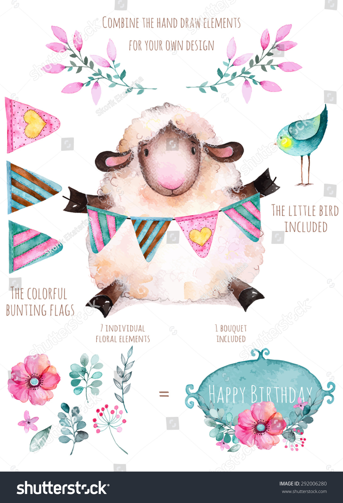 Vector bunting flags lovely celebration card with colorful paper - Pattern With Individual Elements For Your Own Design Flowers Flags Little Bird And