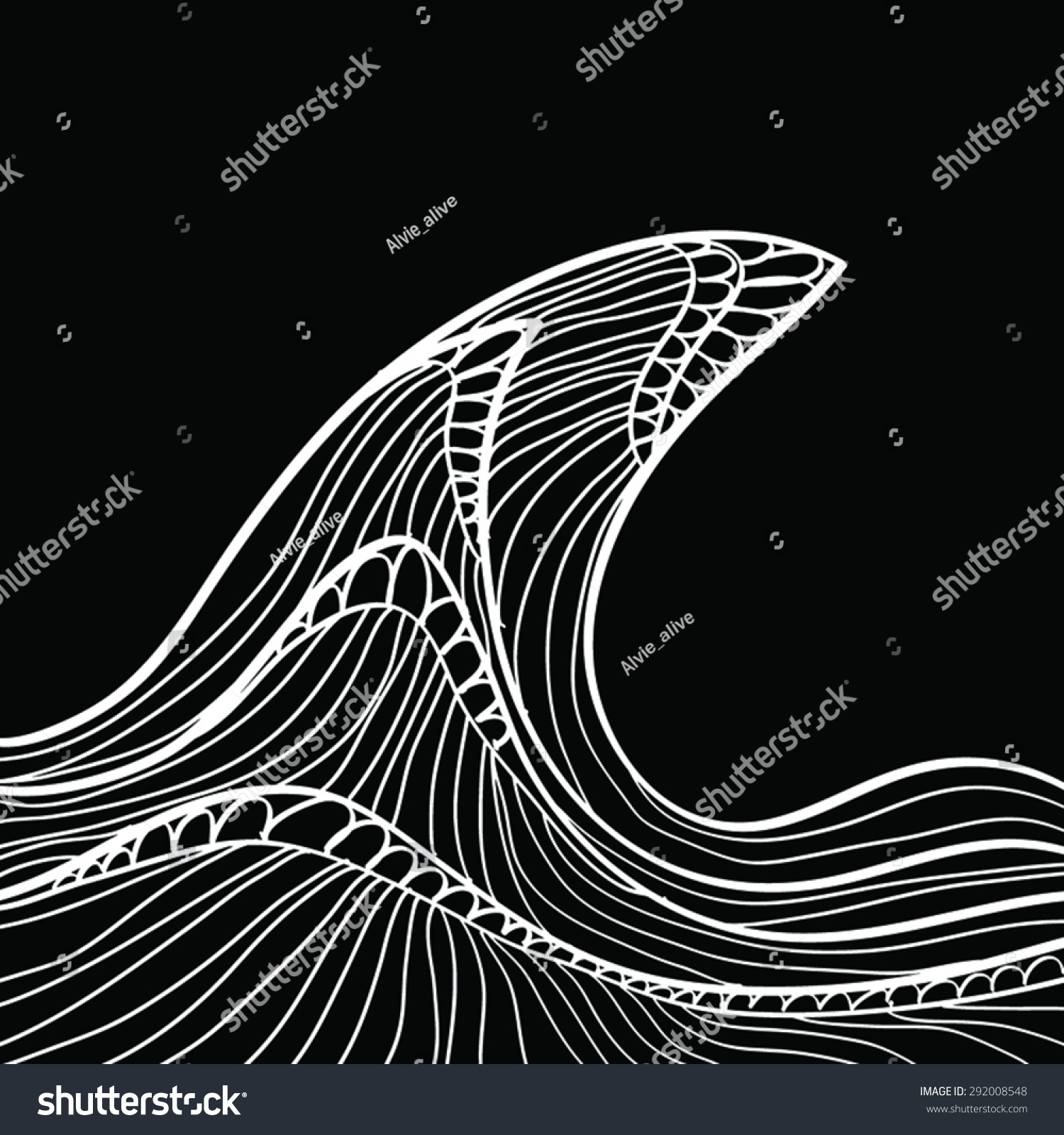 Graphic Wave Black White Vector Illustration Stock Vector ...