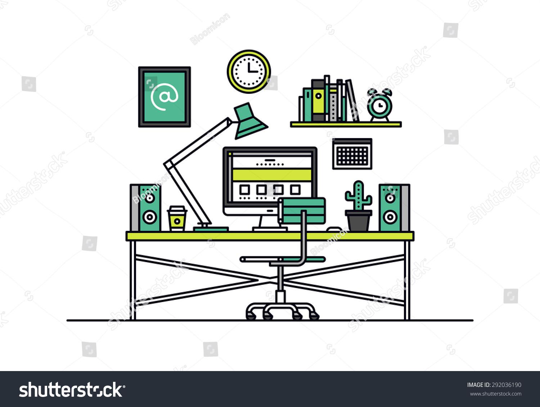 workspace room interior, creative office desk with desktop computer