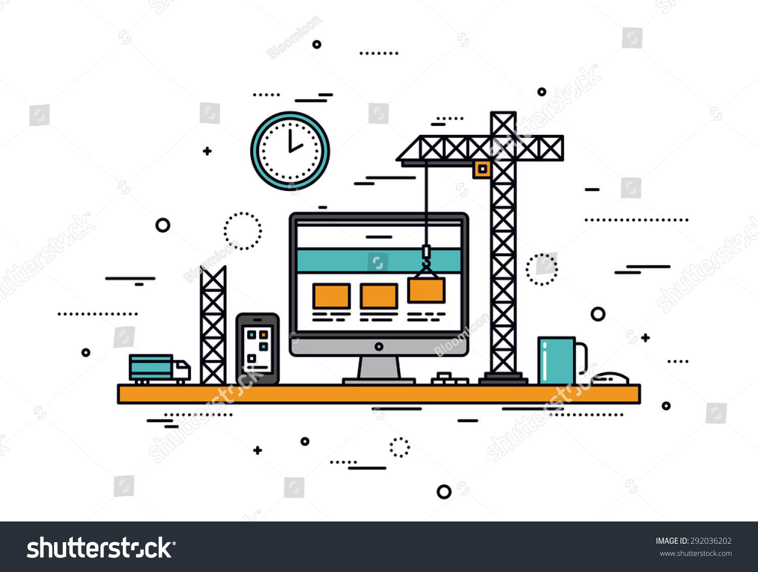 Thin line flat design website under stock vector 292036202 for Building design website