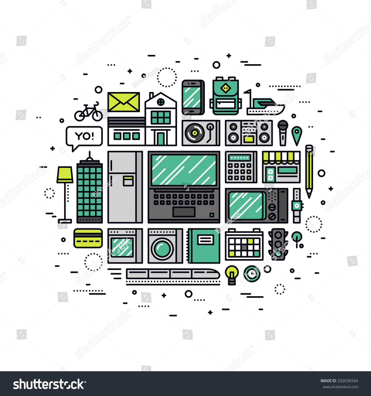 thin line flat design of internet of things technology what is a network home networking