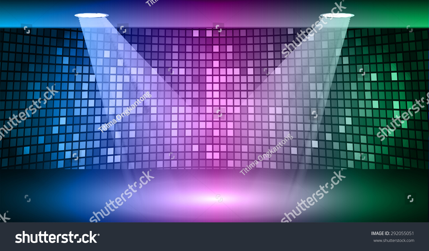 Abstract Technology Background With Light Effect: Stage Lighting Blue Purple Green Background Stock Vector
