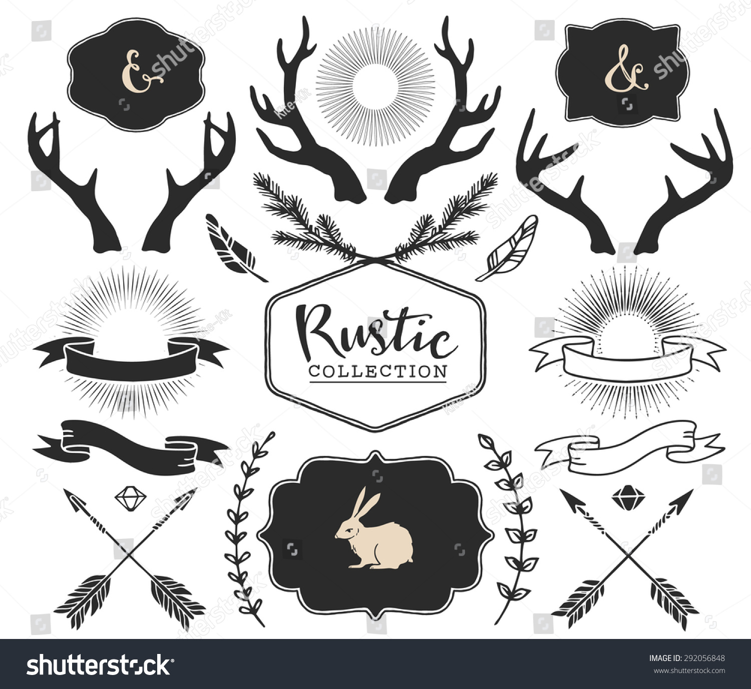 hand drawn antlers bursts arrows ribbons and frames with lettering rustic decorative