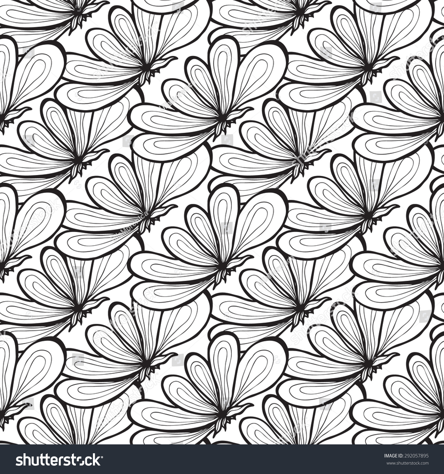Vector Creative Hand Drawn Abstract Seamless Pattern Of Stylized