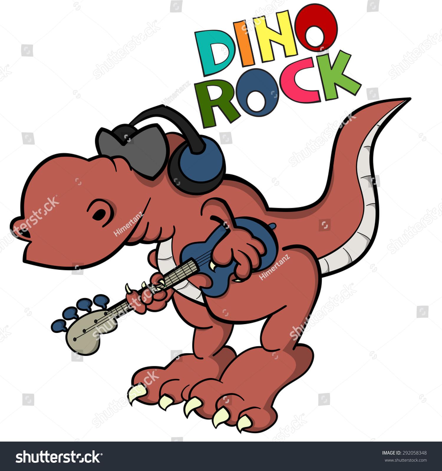 Funny Cartoon T Rex As A Bass Guitarist Of Rock