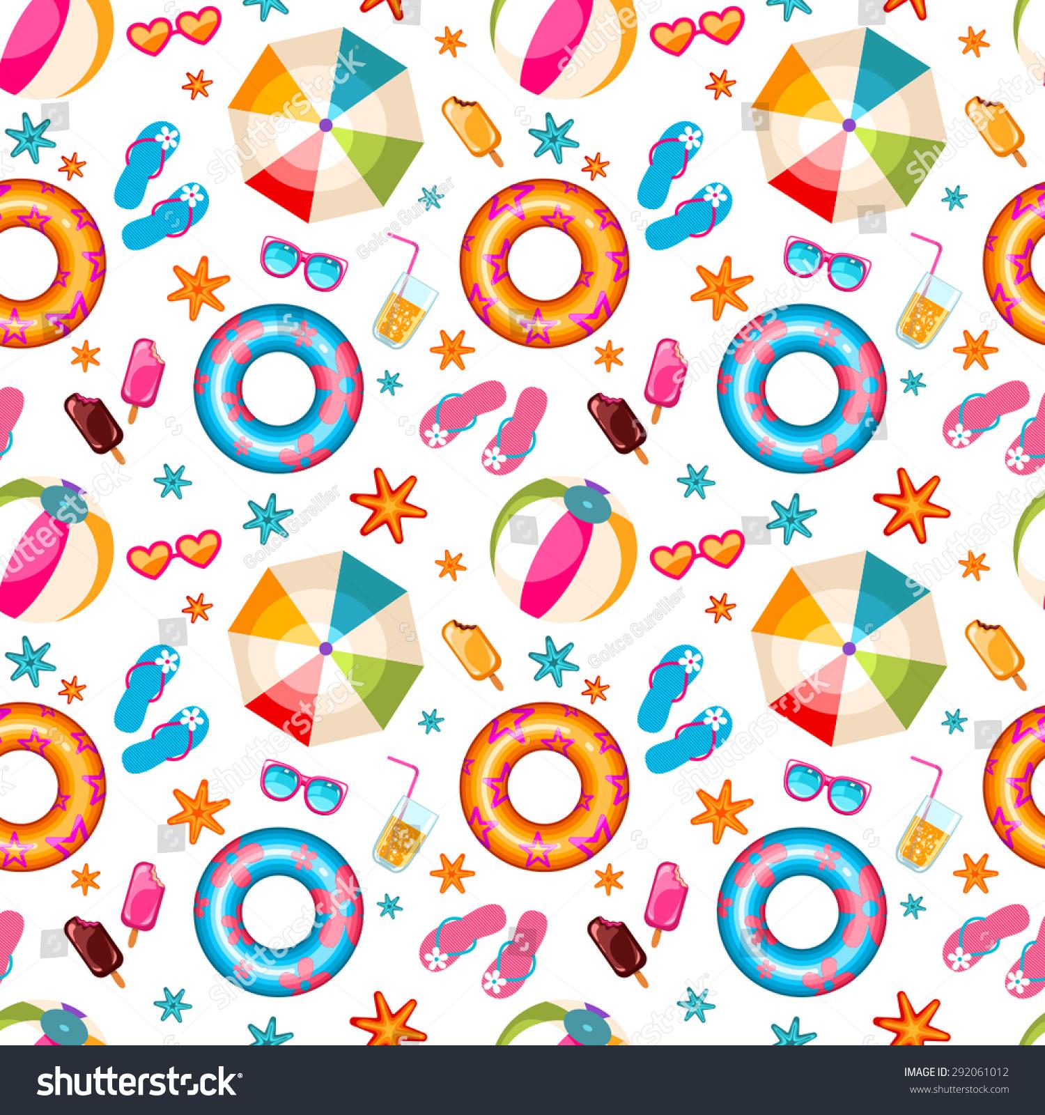 Seamless Summer Pattern Cute Beach Icons Stock Vector