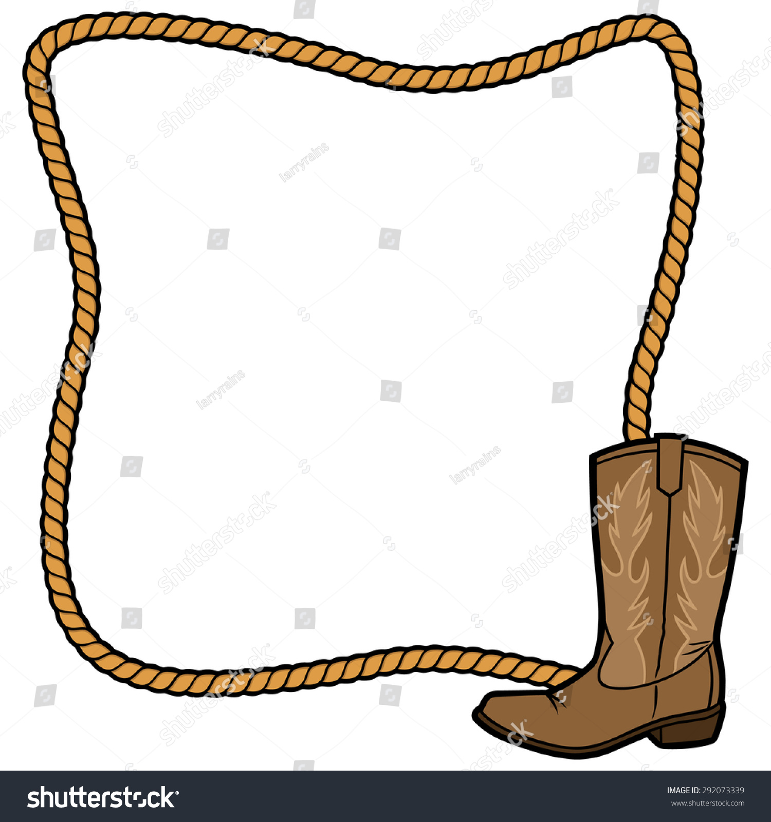 Rope frame and cowboy boot stock vector 292073339 Rope photo frame