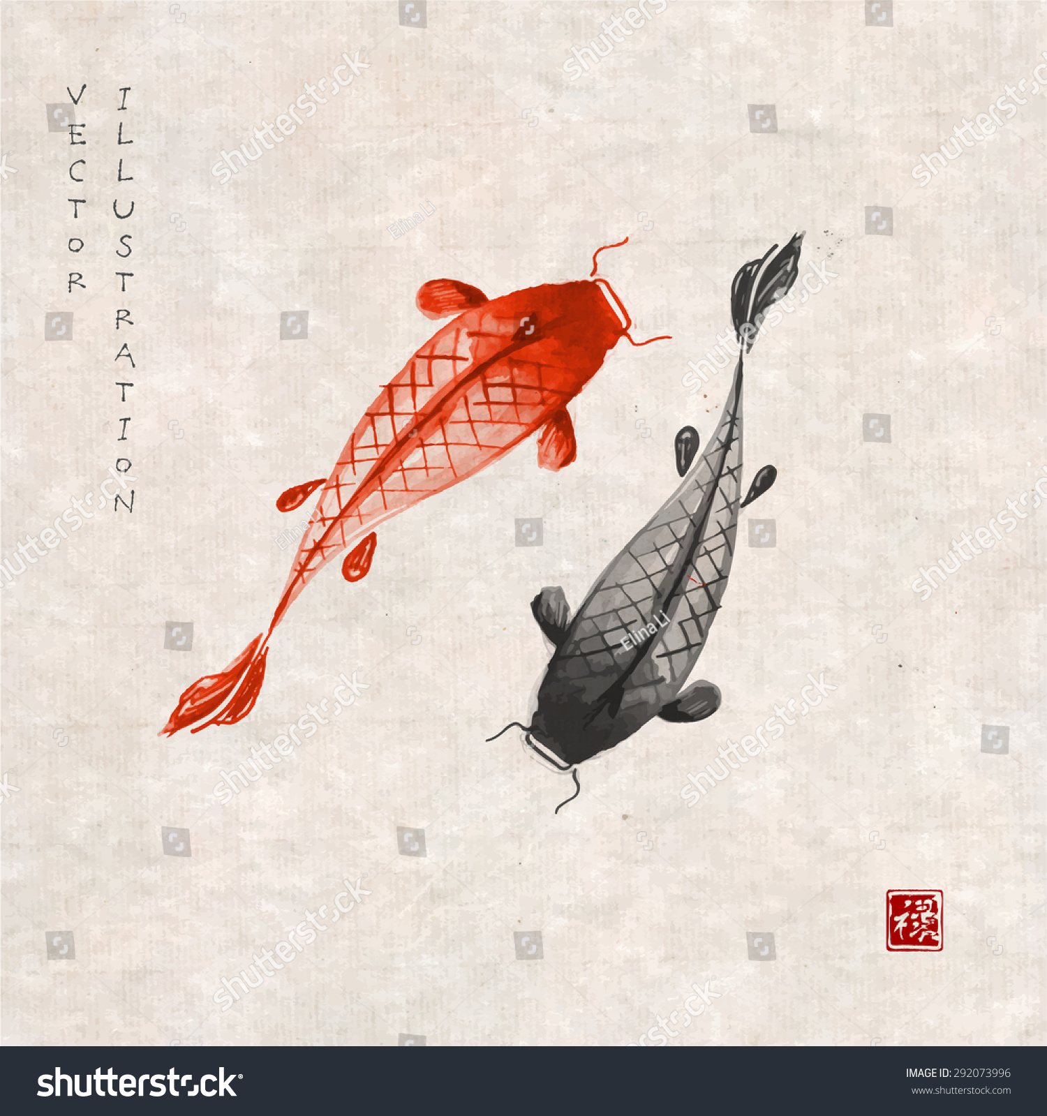 Red black koi carps hand drawn stock vector 292073996 for Japanese koi carp paintings