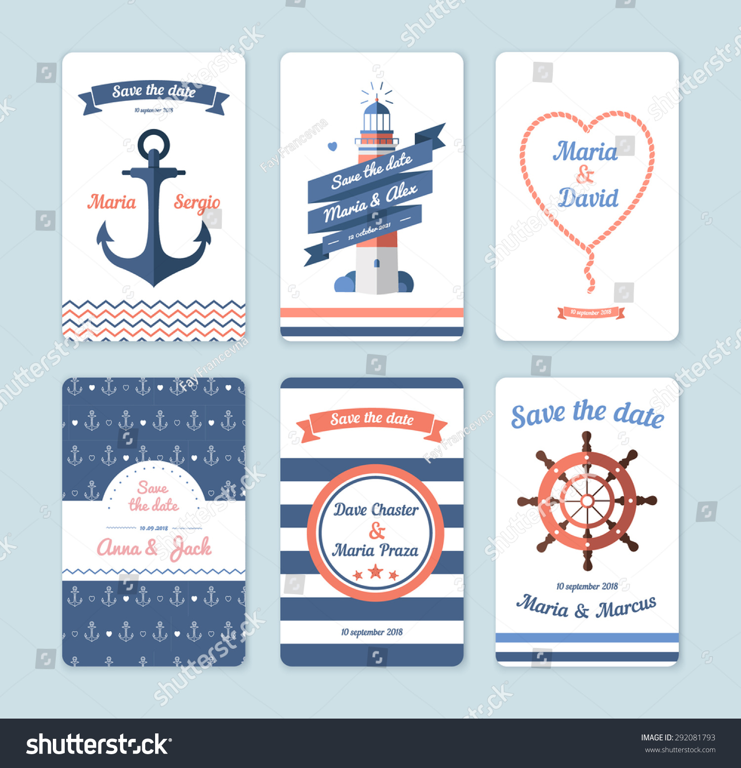 Wedding Invitation Card Save Date Sailor Stock Vector 292081793 - Shutterstock