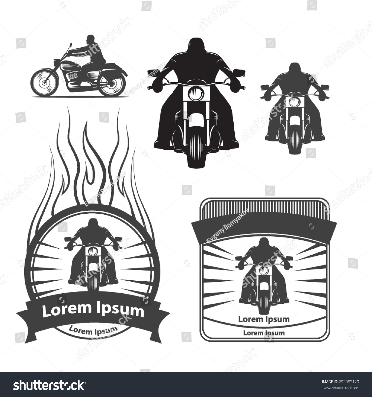 Silhouette Motorcycle Rider Simple Illustration Logo Stock Photo ...
