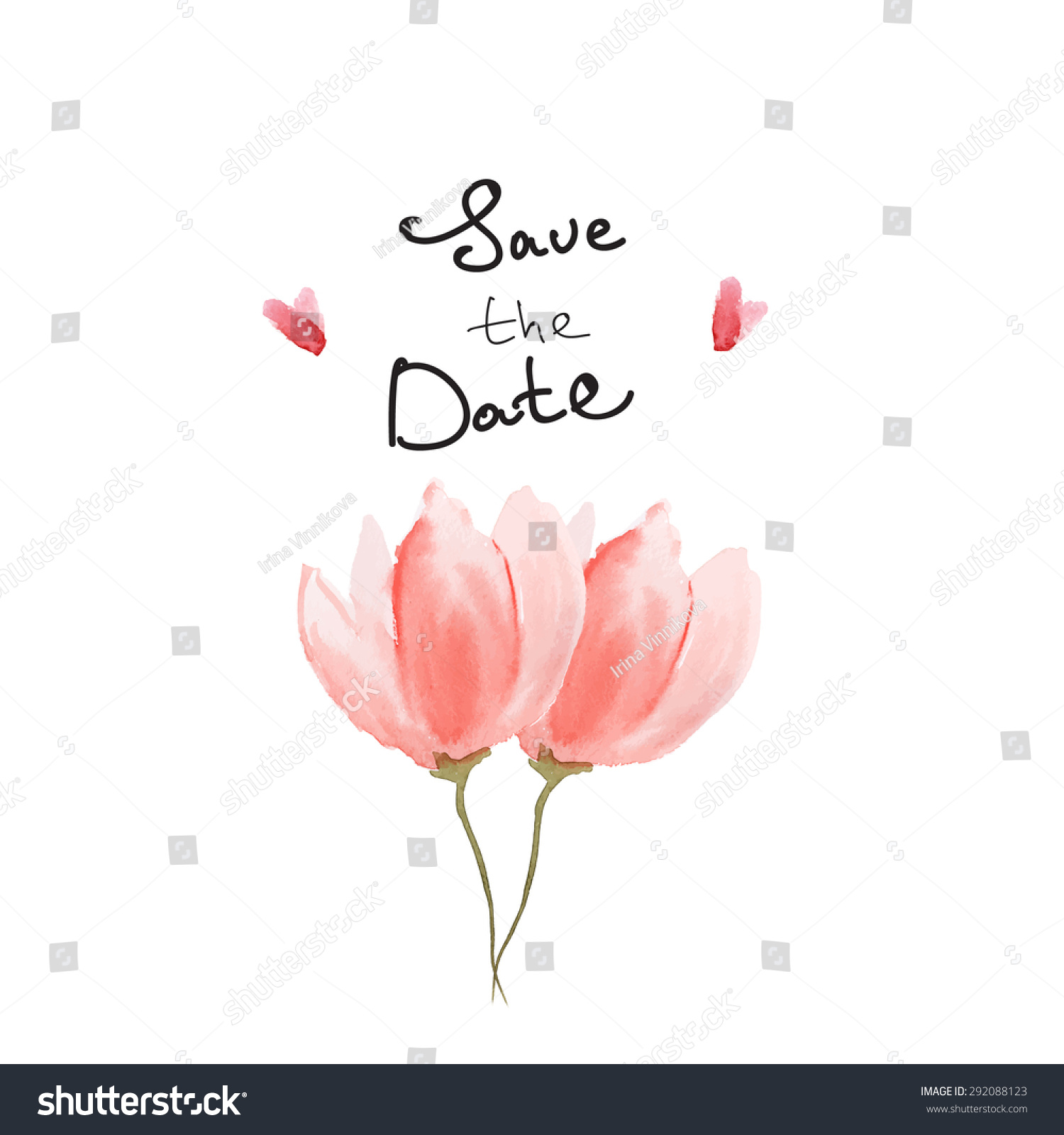 tulip in a heart card save date vector watercolour card tulip stock vector 7267