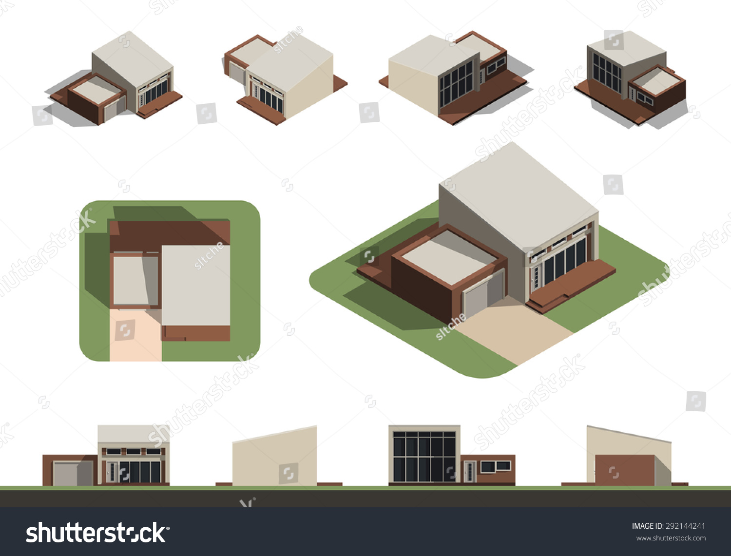 Set of flat isolated house building kit creation detailed for Building house with side views