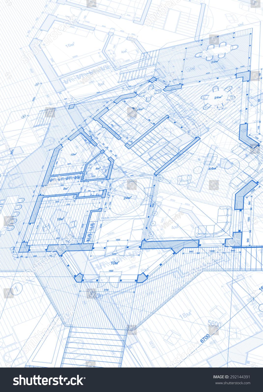 Architecture design blueprint house plans illustration for Architecture blueprint