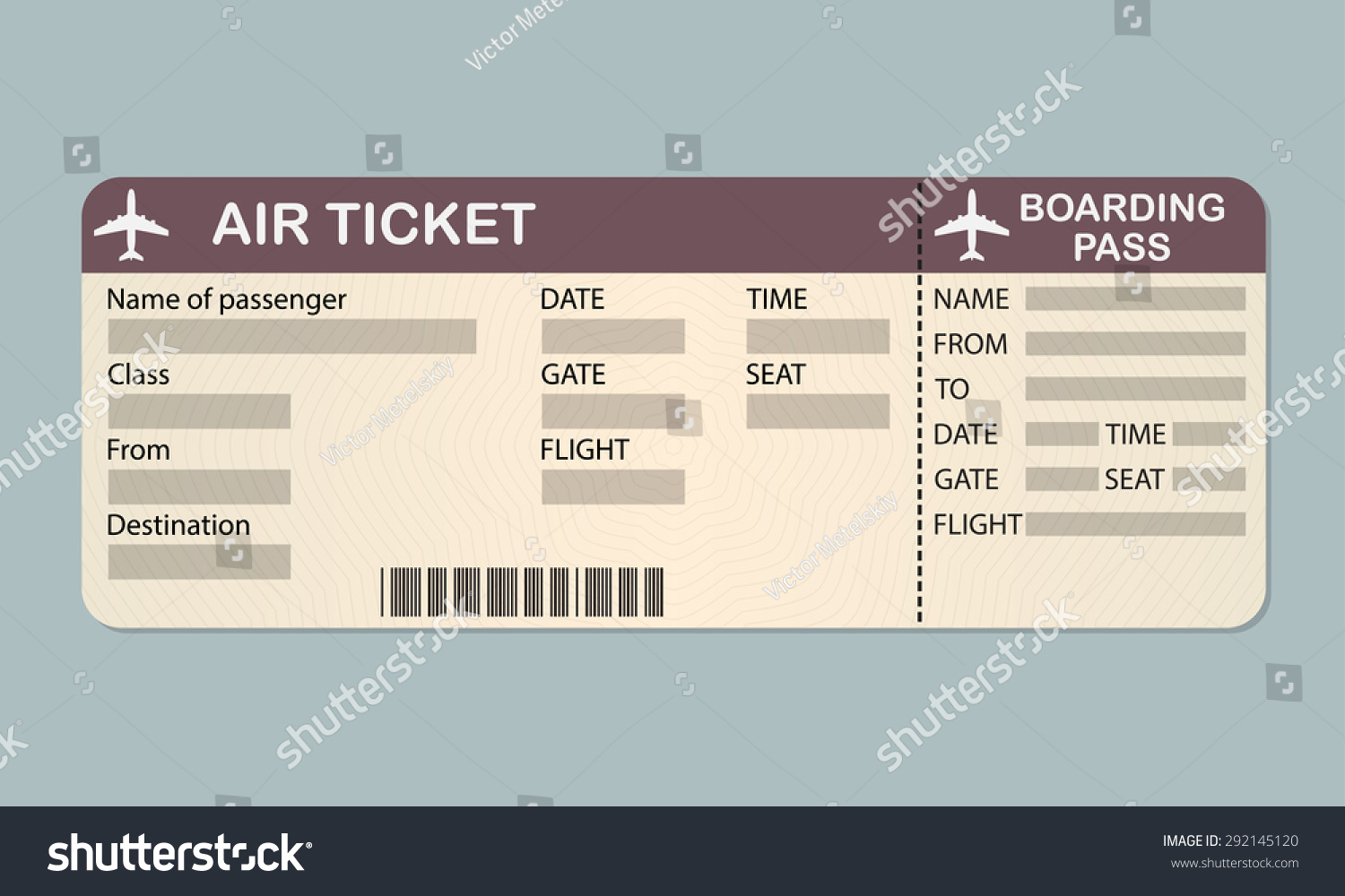 Airline Boarding Pass Ticket Template Detailed Vector – Plane Ticket Template