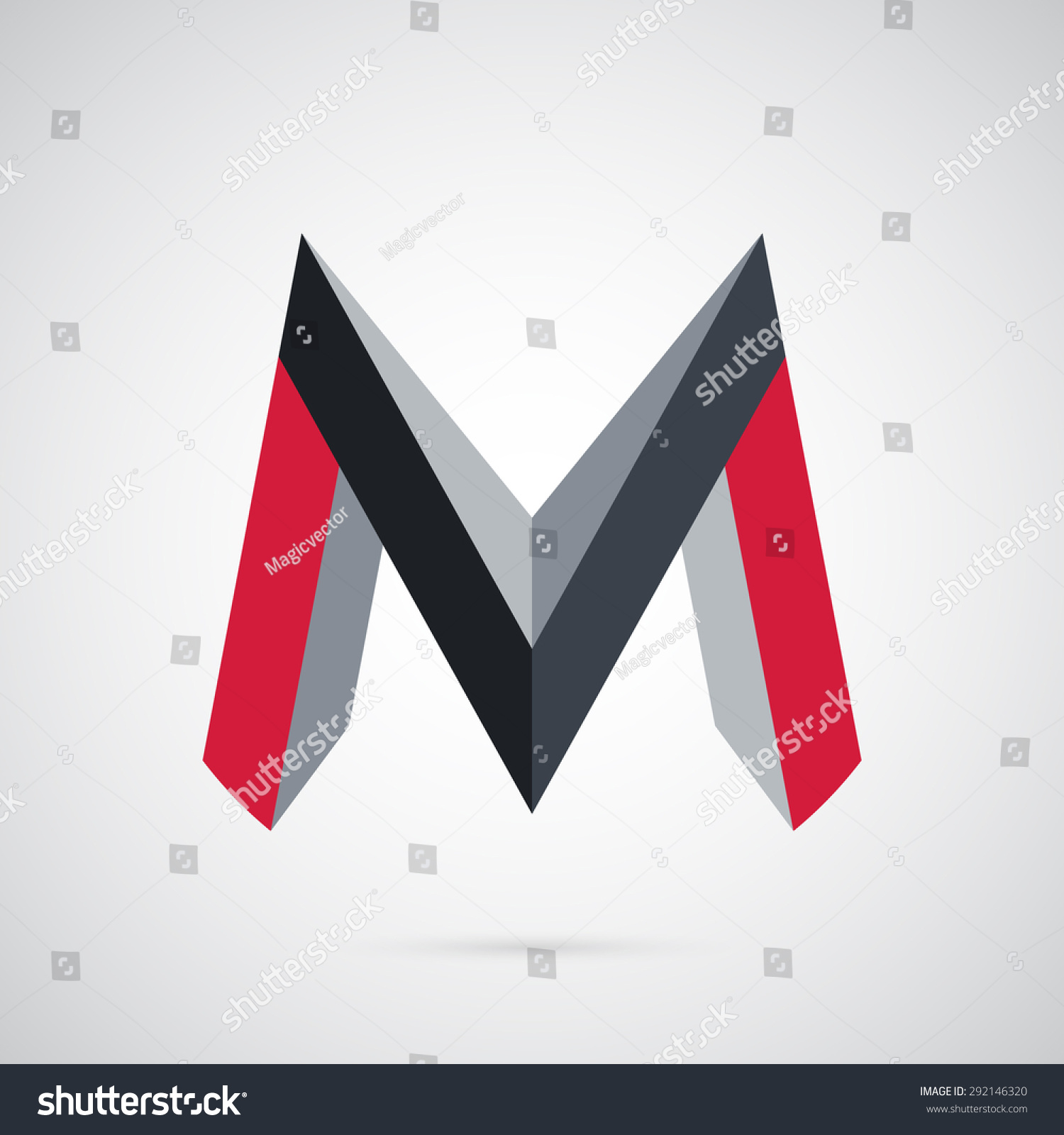 3d creative strong letter m geometric stock vector