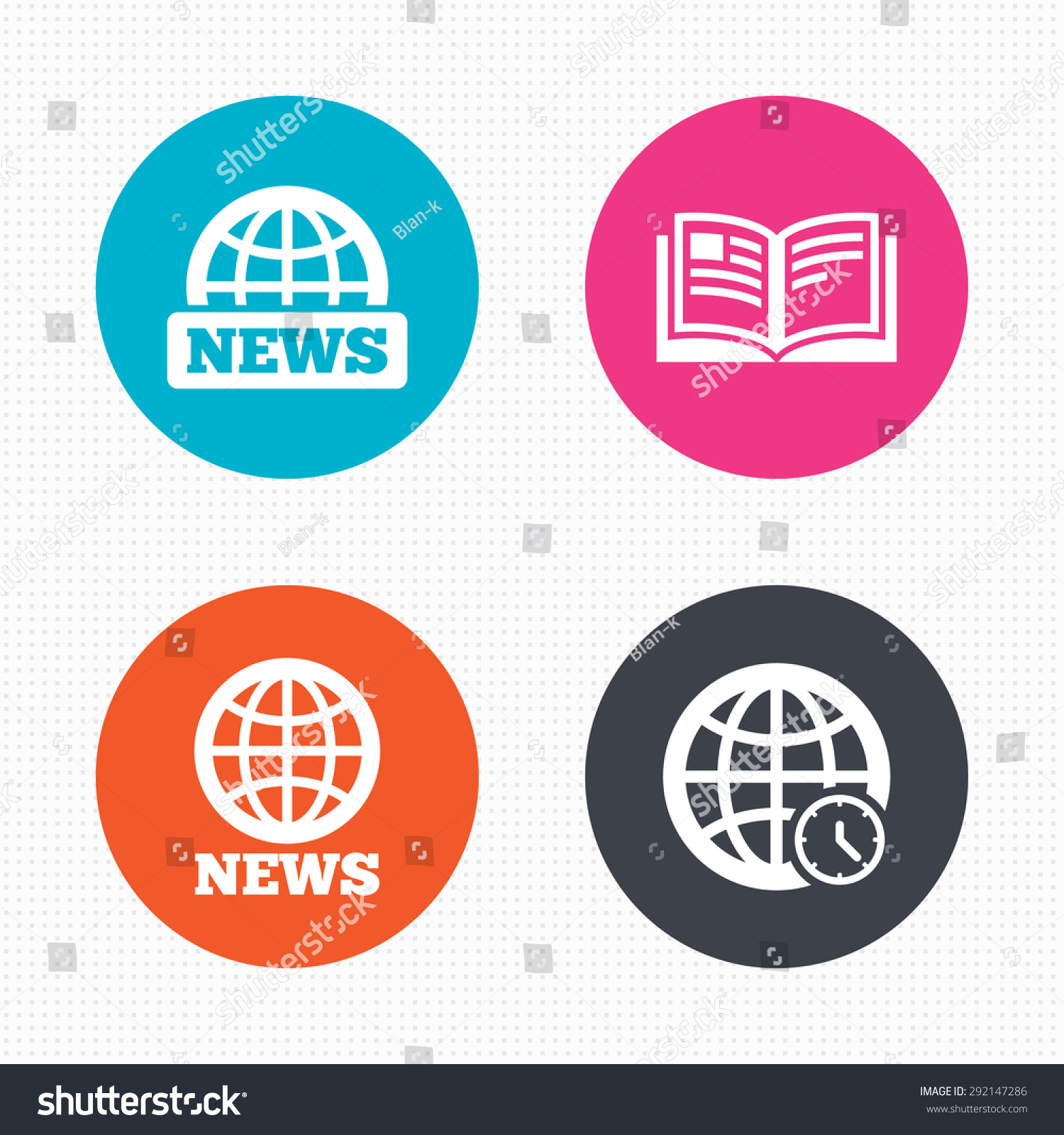 circle buttons news icons world globe stock vector  world globe symbols open book sign education literature