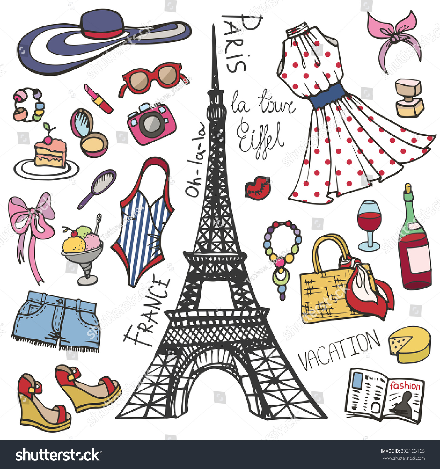 Fashion Illustrationparis France Eiffel Towerwomen Summer