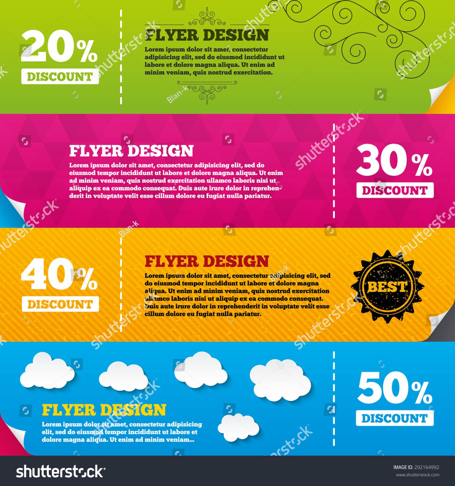 brochure design pricing - flyer brochure designs sale discount icons stock vector