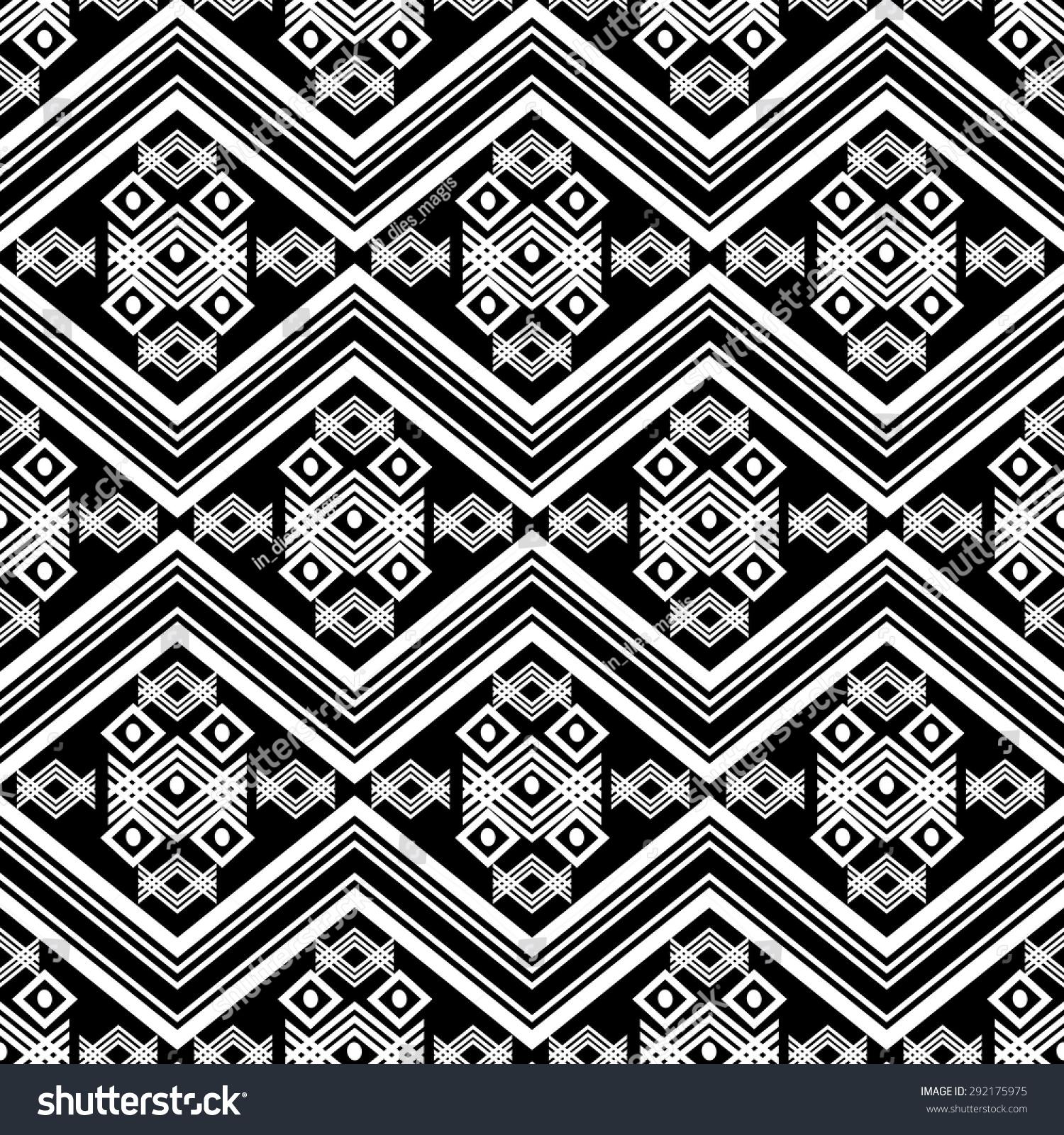 Black White Ethnic Tribal Seamless Pattern Stock Vector