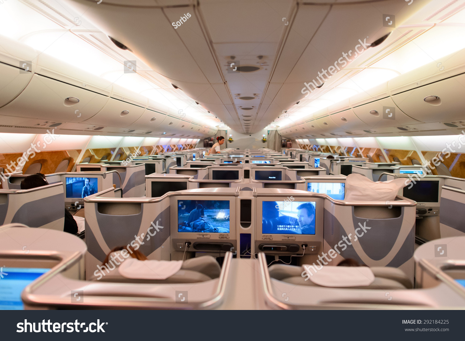 Hong kong june 18 2015 emirates stock photo 292184225 for Airbus a380 emirates interior