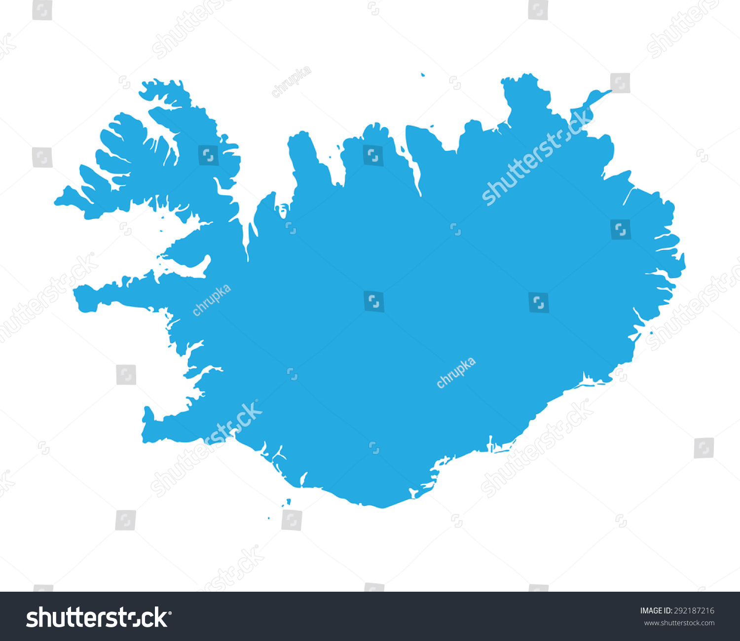 Blue Map Iceland Stock Vector (Royalty Free) 292187216 - Shutterstock