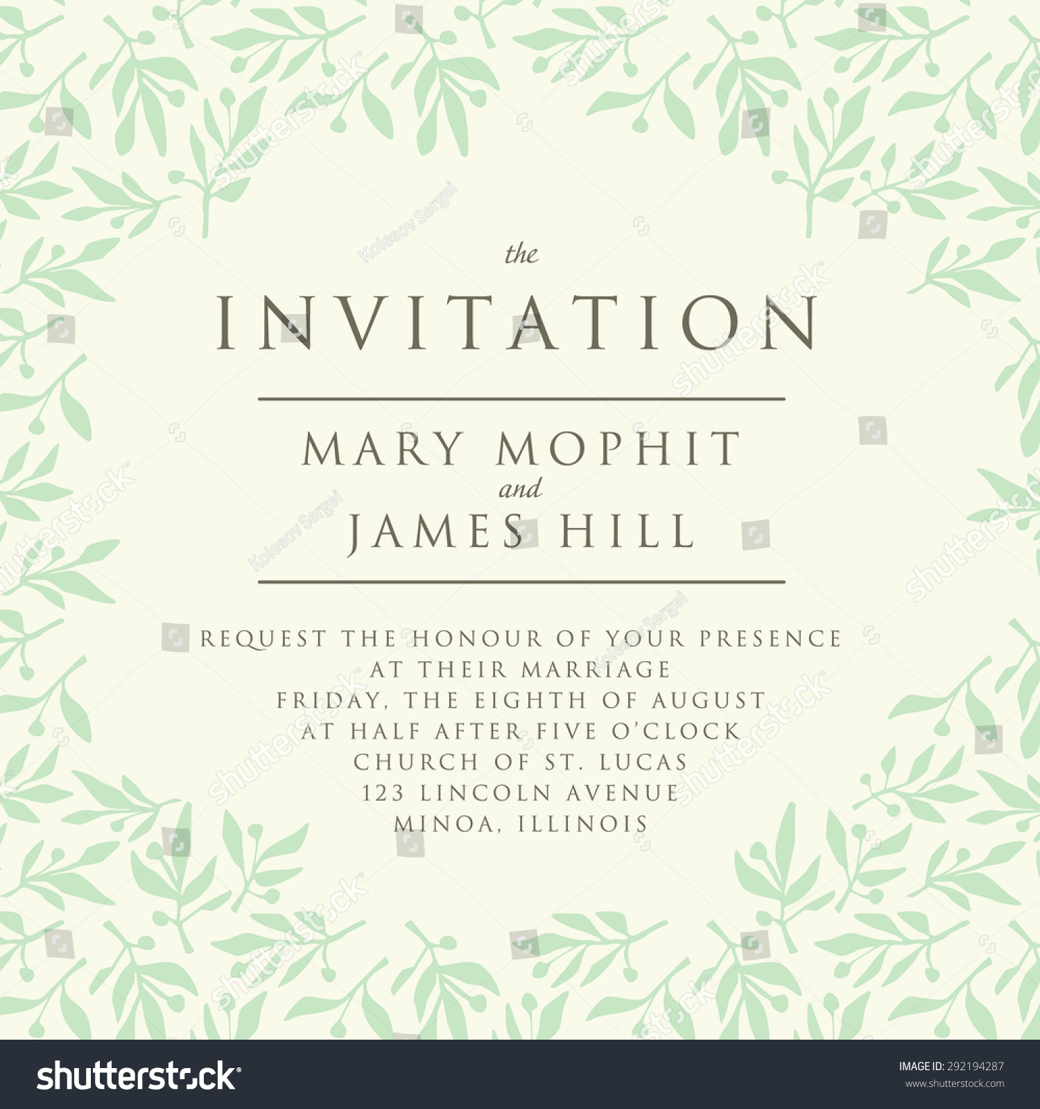 invitation pattern olive branch template wedding のベクター画像素材