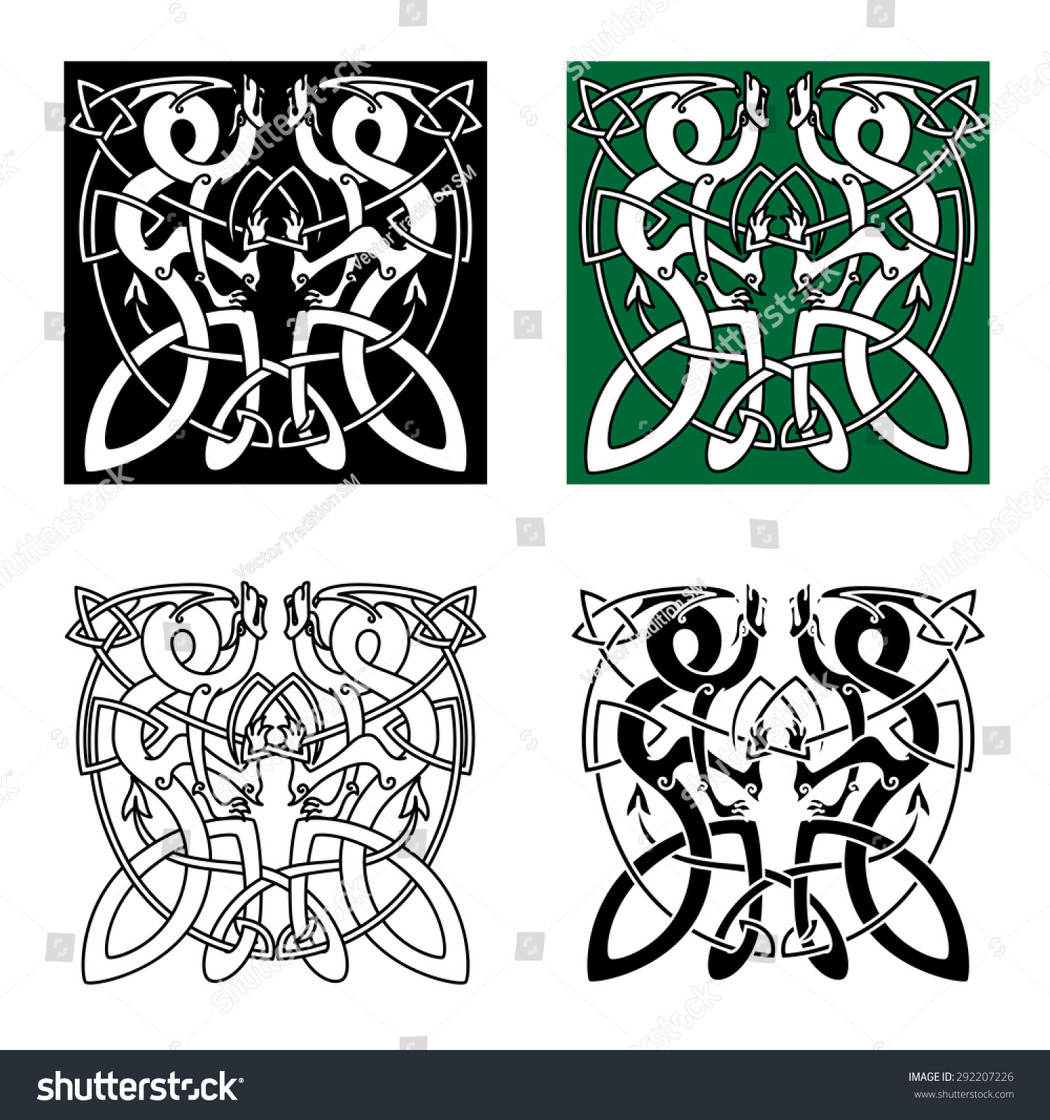 Animal ornaments - Ancient Celtic Animal Ornaments With Twisted Dragons In Tribal Style For Tattoo Or Totem Animal Design