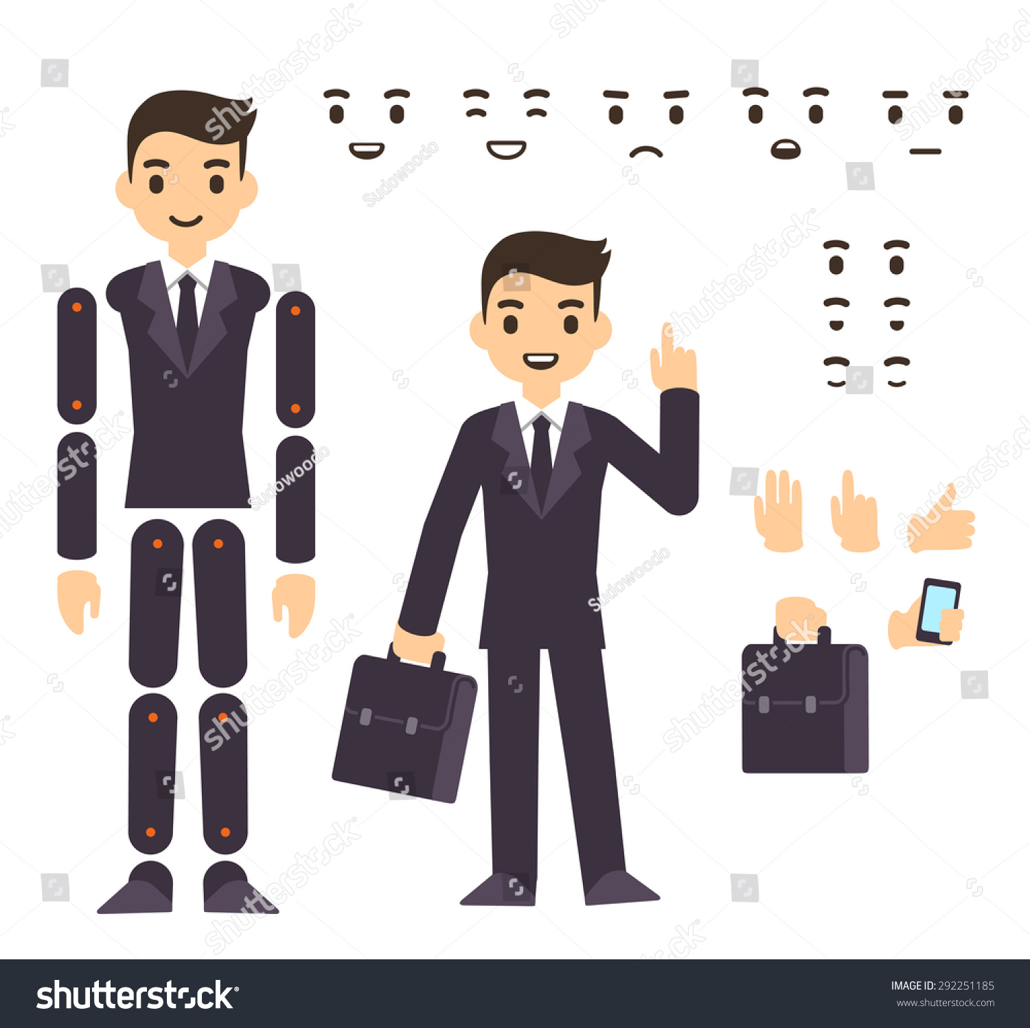 Cartoon Characters In Suits : Young businessman cartoon character in formal suit