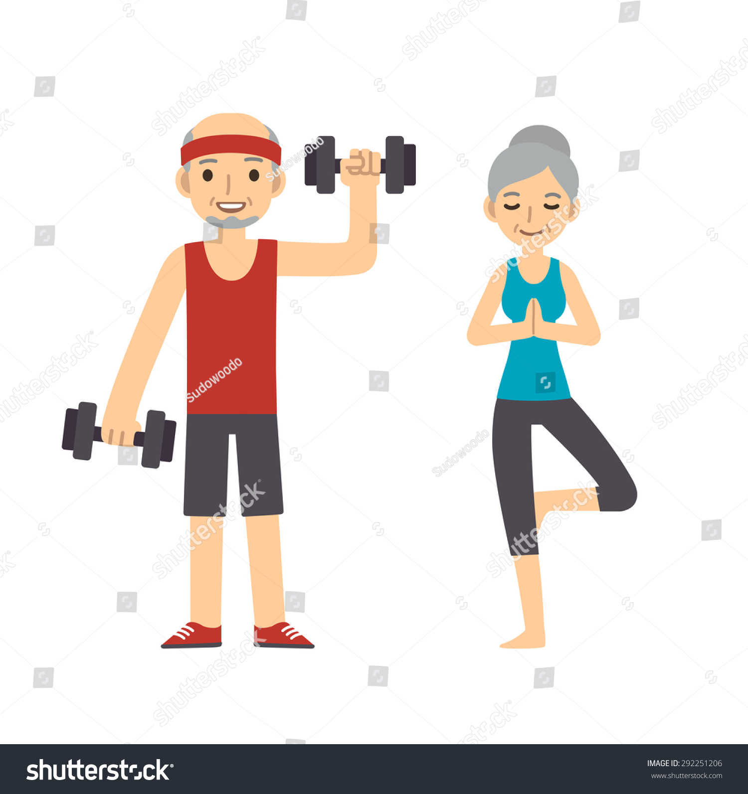 Active and healthy senior couple cartoon man with dumbbells and woman doing yoga isolated on white background Modern minimalistic flat vector style