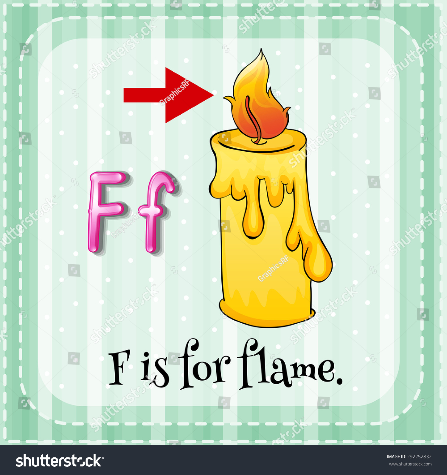 letter f flashcard flashcard letter f is for stock vector 292252832 505