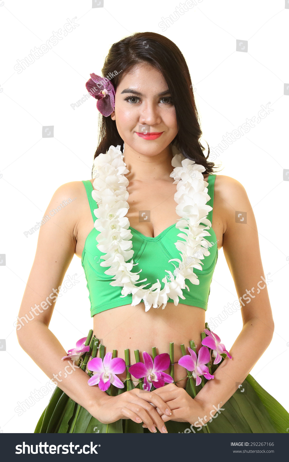 Beautiful woman dress hawaiian style flower stock photo royalty beautiful woman dress in hawaiian style with flower lei garland of white orchids on white background izmirmasajfo