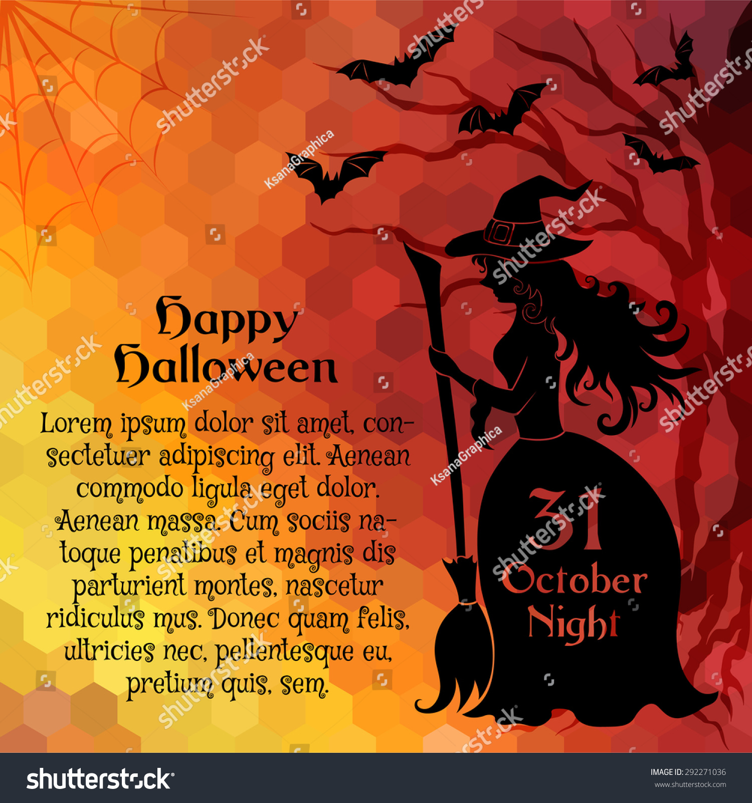 Halloween Party Banner Template Witch Sample Stock Vector ...