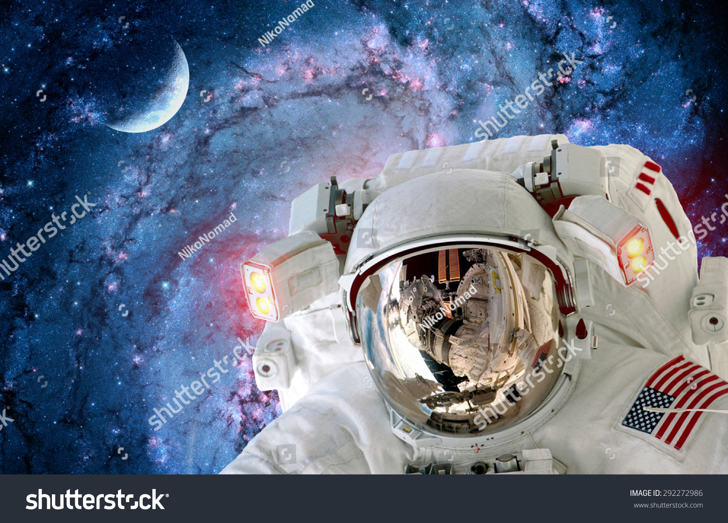 Astronaut spaceman helmet light outer space stock photo for Outer space elements