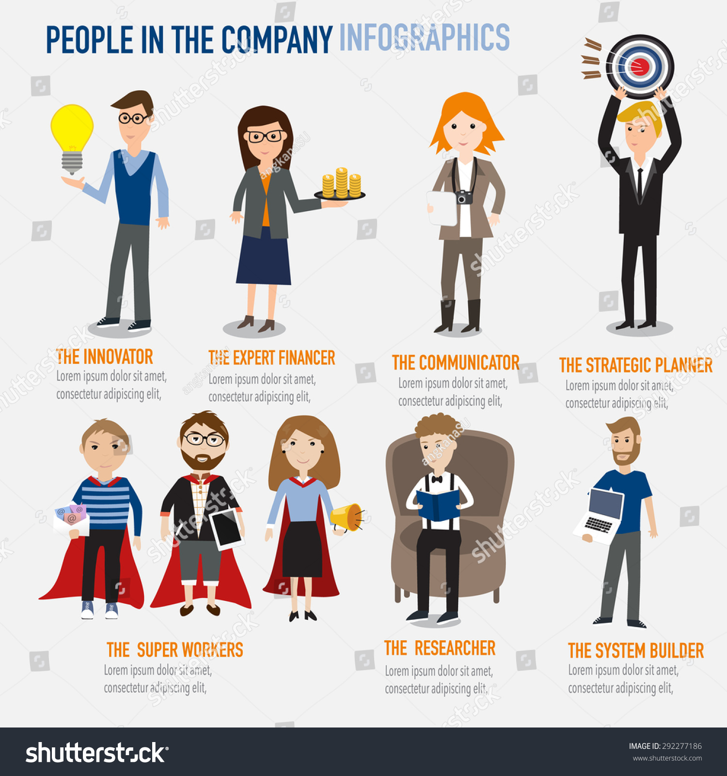 Type People Working Company Infographics ...