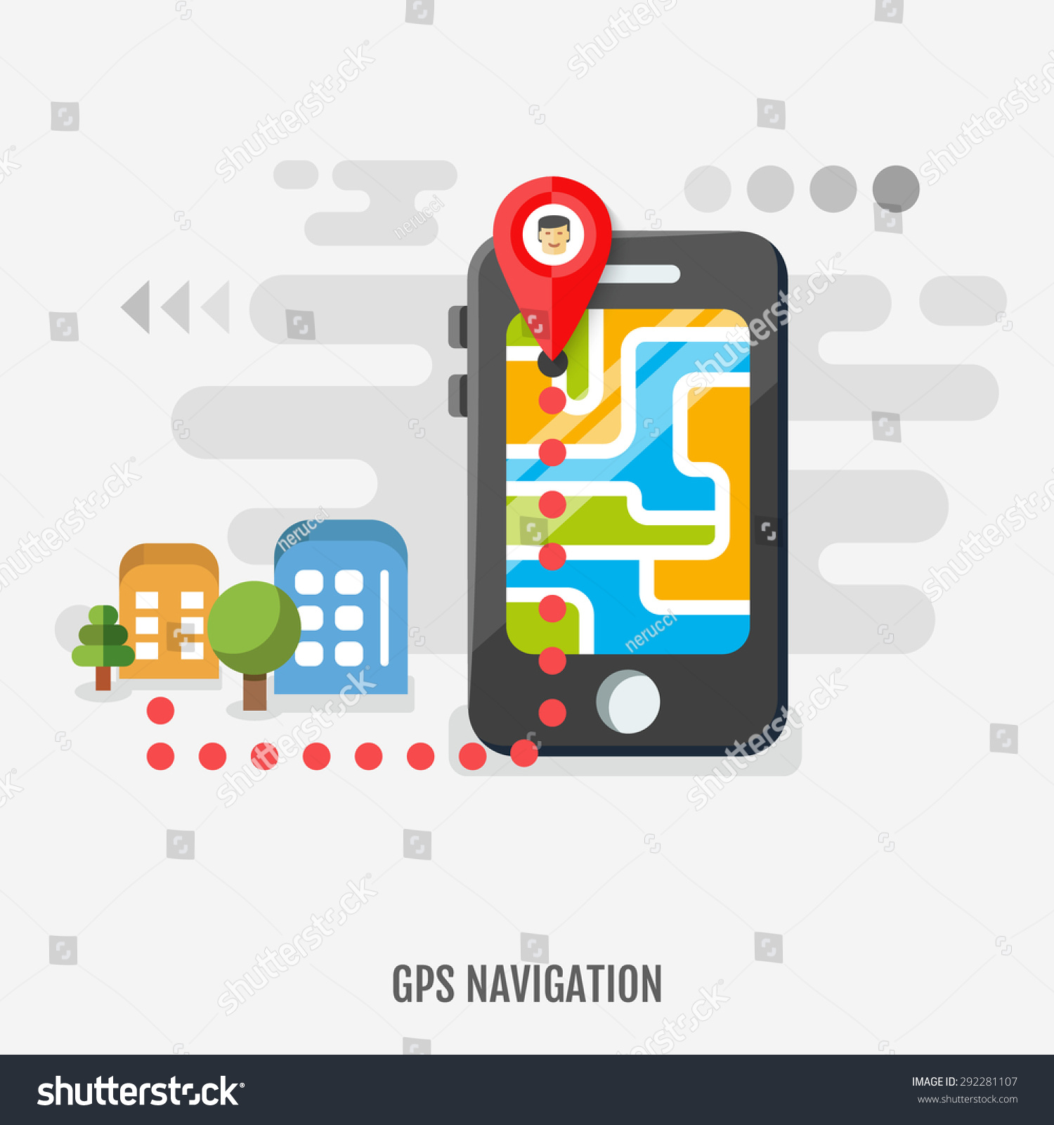 Mobile Gps Navigation On Mobile Phone Stock Vector Royalty Free