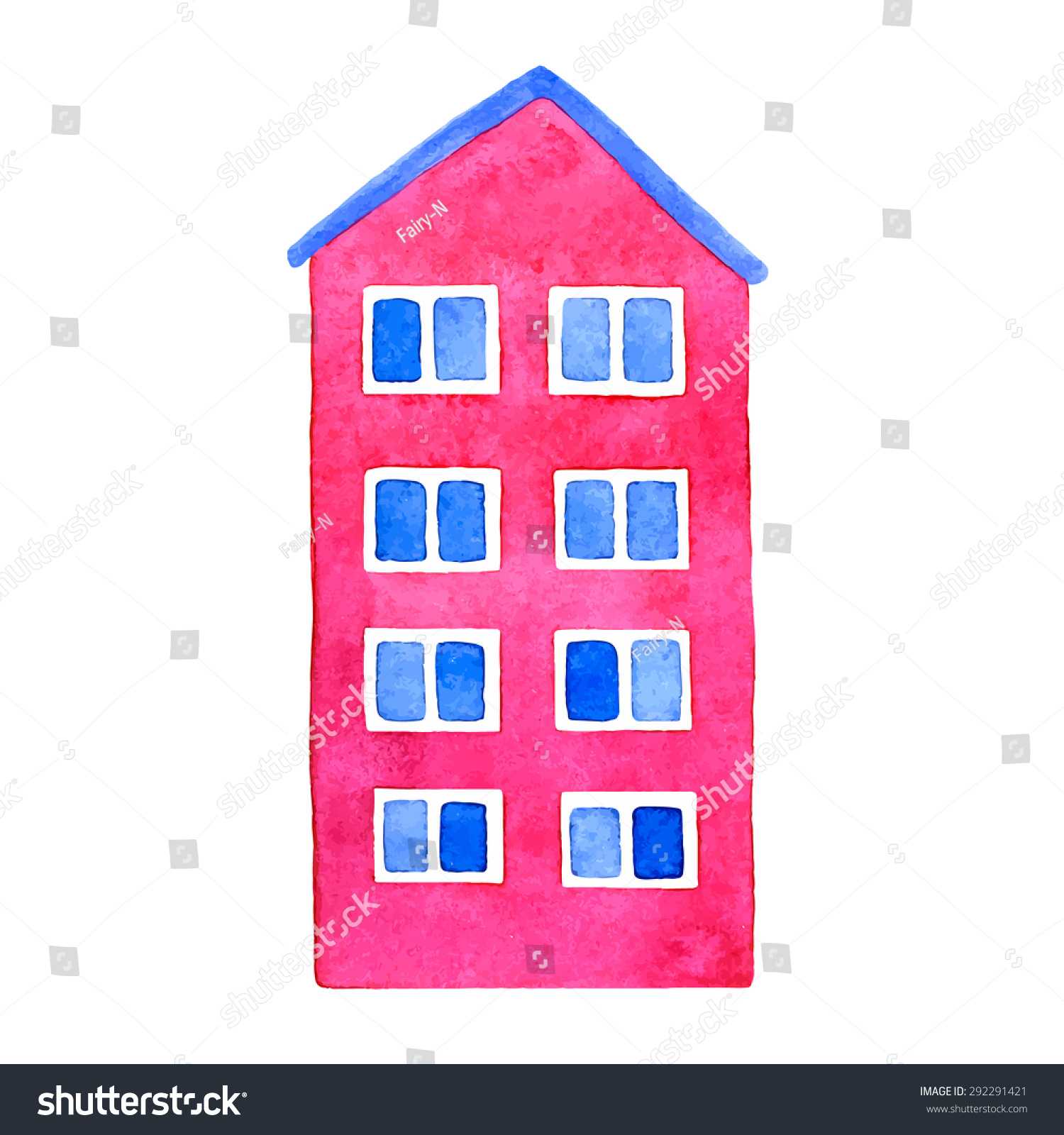 Vector Watercolor Pink House Blue Roof Stock Vector (Royalty Free ...