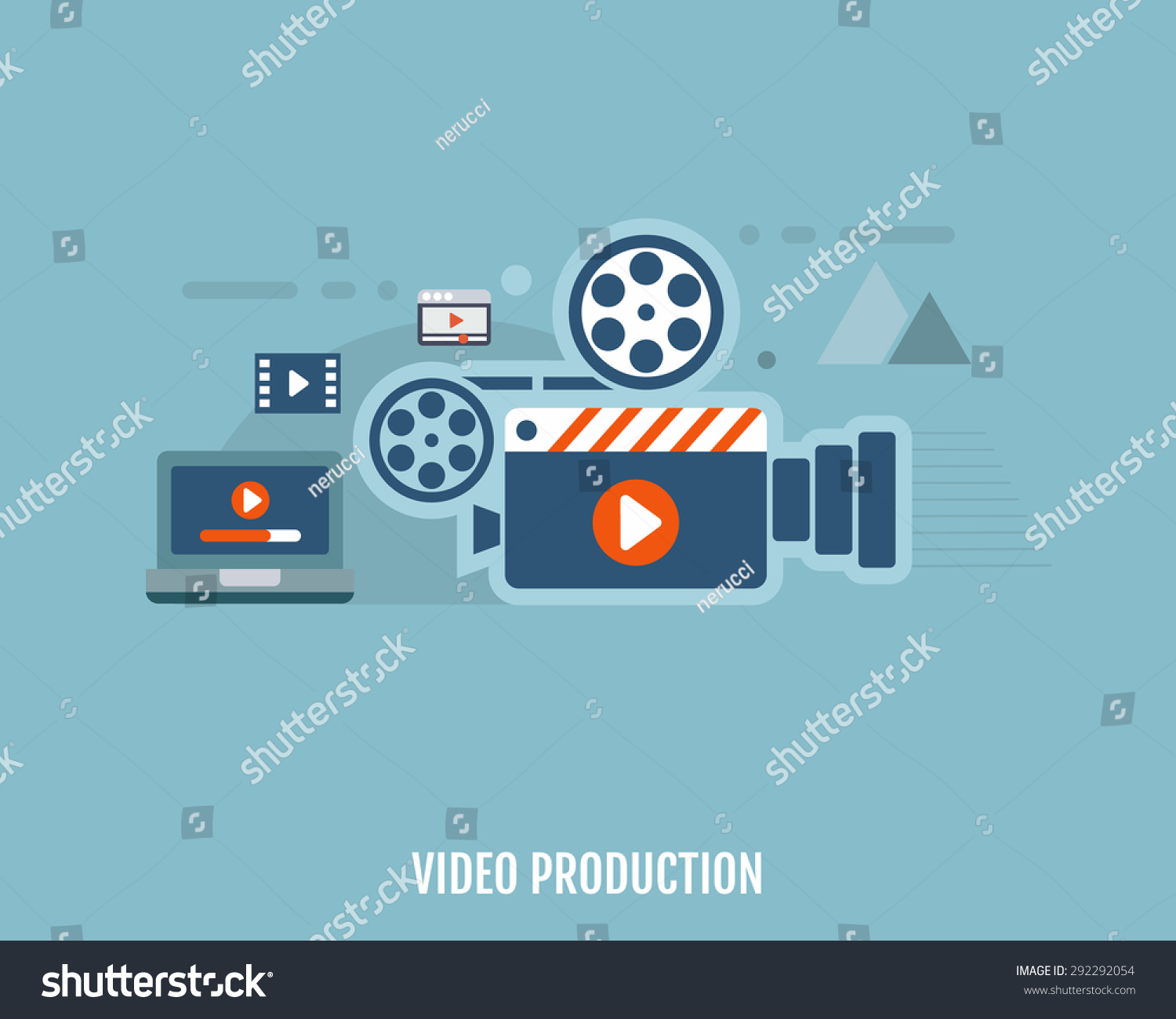 Concept Video Production Camera Video Editor Stock Vector