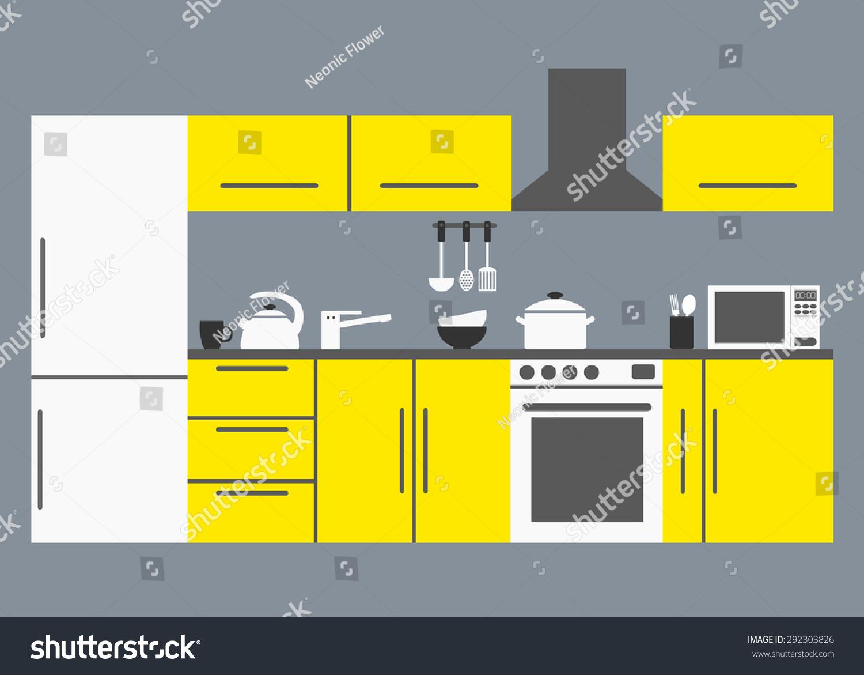 big kitchen modern kitchen interior kitchen stock vector 292303826 big kitchen modern kitchen interior with kitchen appliances tables refrigerator and dishware