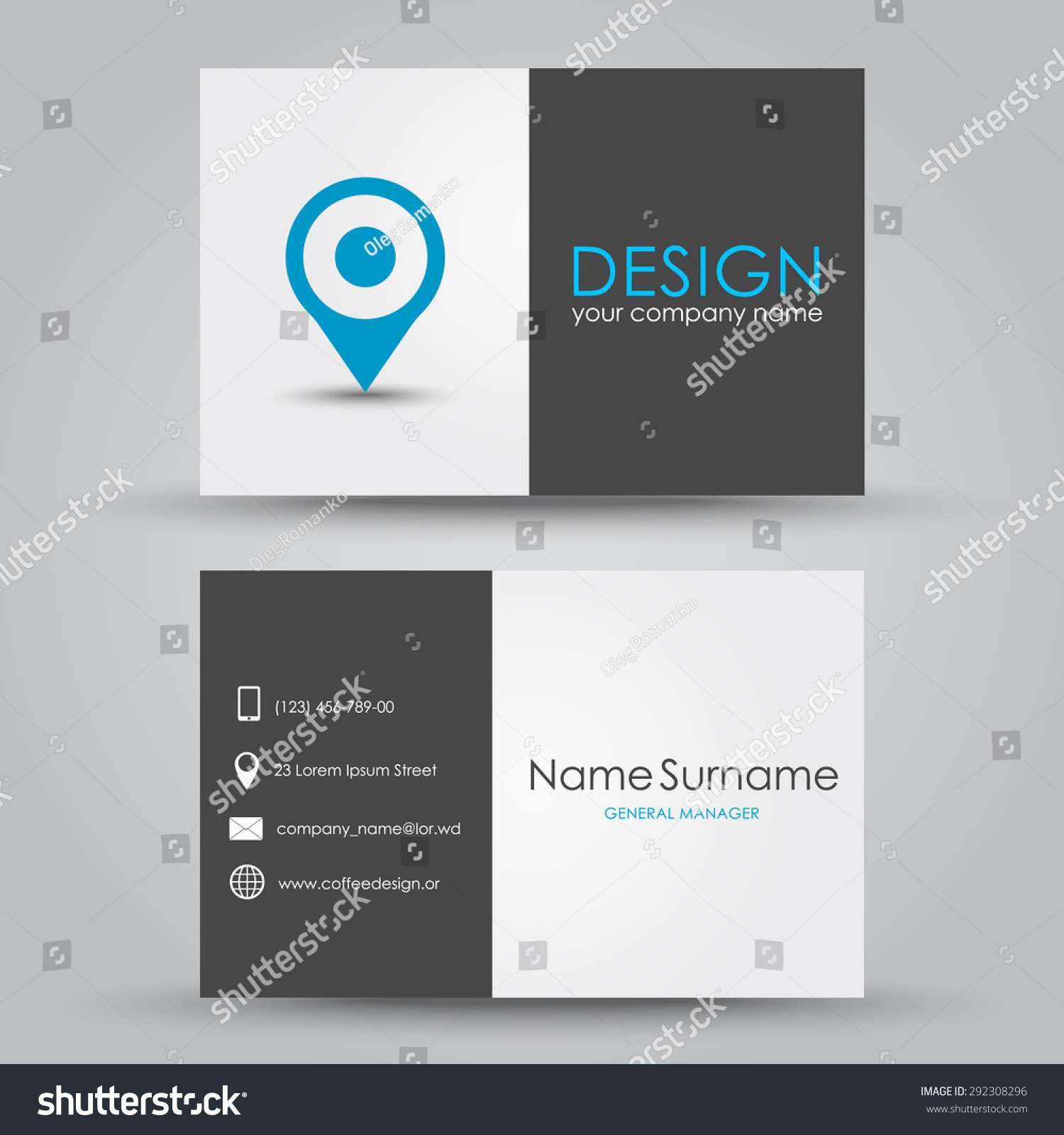 Design Business Card Map Marker Company Stock Vector (2018 ...