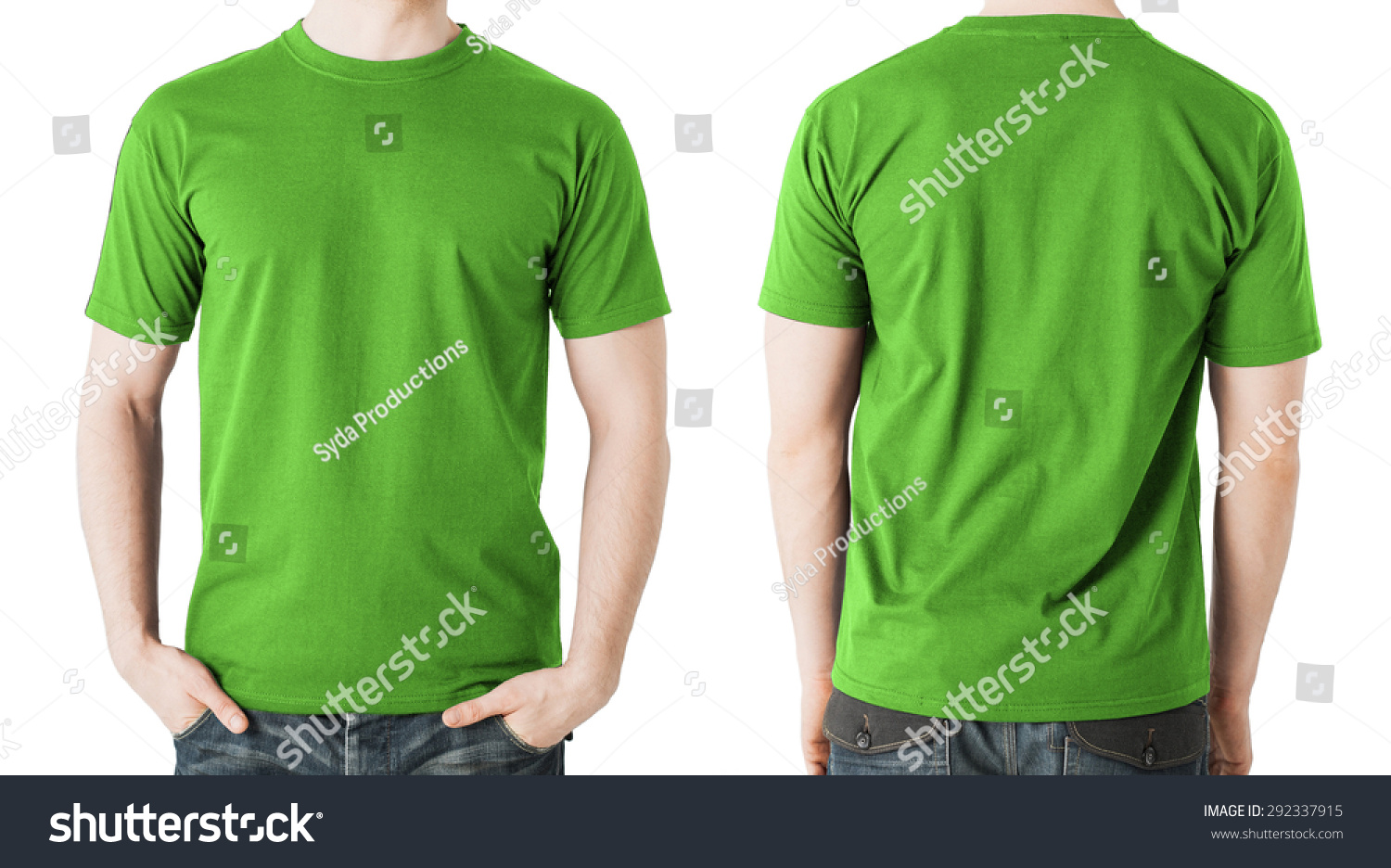Shirt design green - Clothing Design Concept Man In Blank Green T Shirt Front And Back View