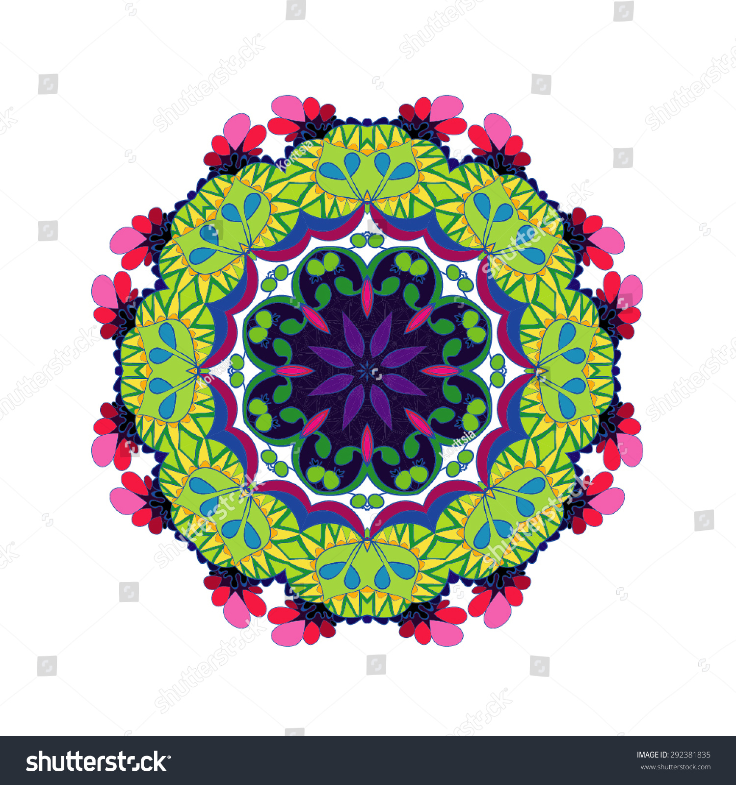 mandala round ornament template vector white stock vector royalty