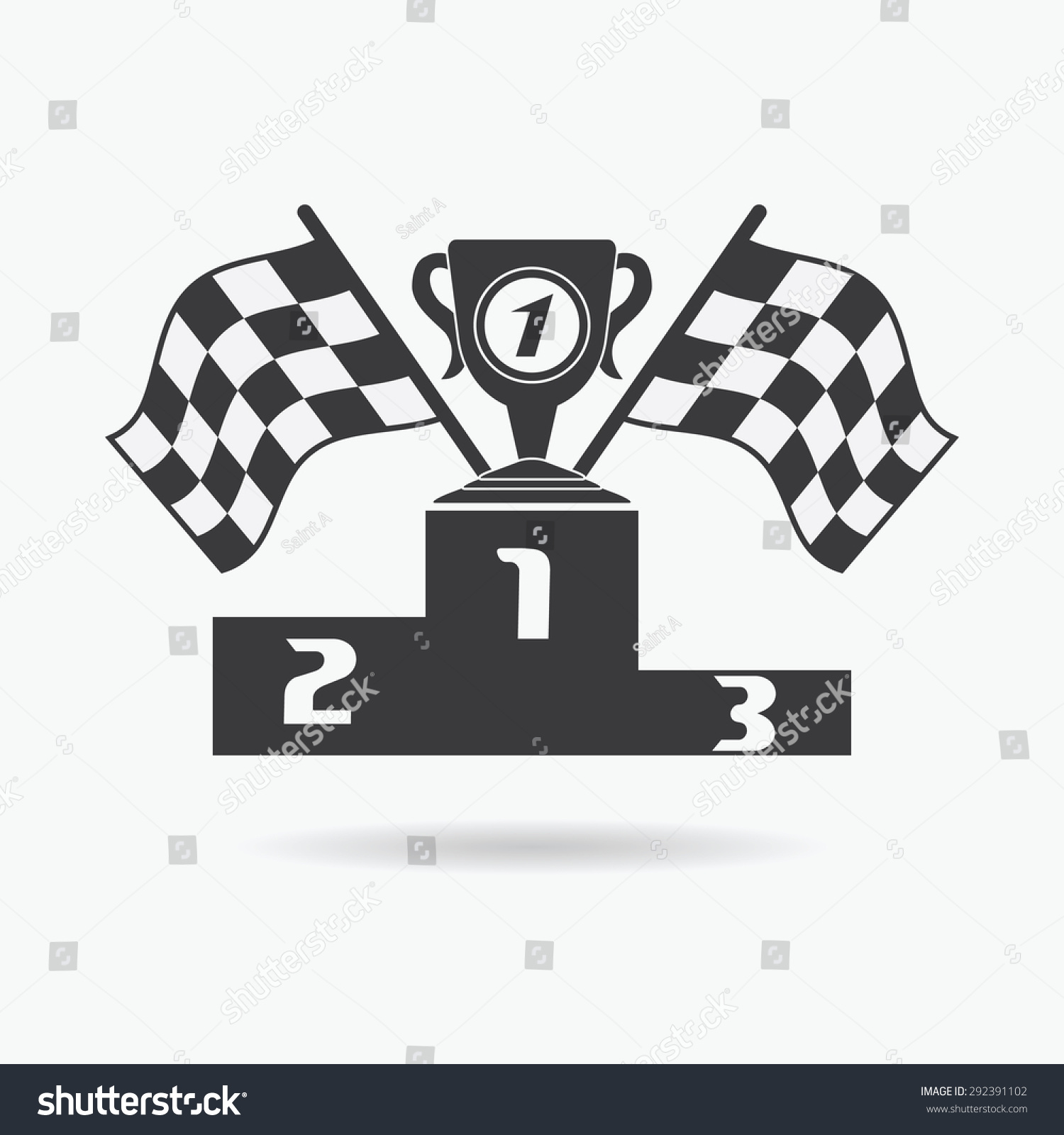 Racing Checkered Flag >> Flag Icon. Checkered Or Racing Flags First Place Prize Cup And Winners Podium. Sport Auto, Speed ...