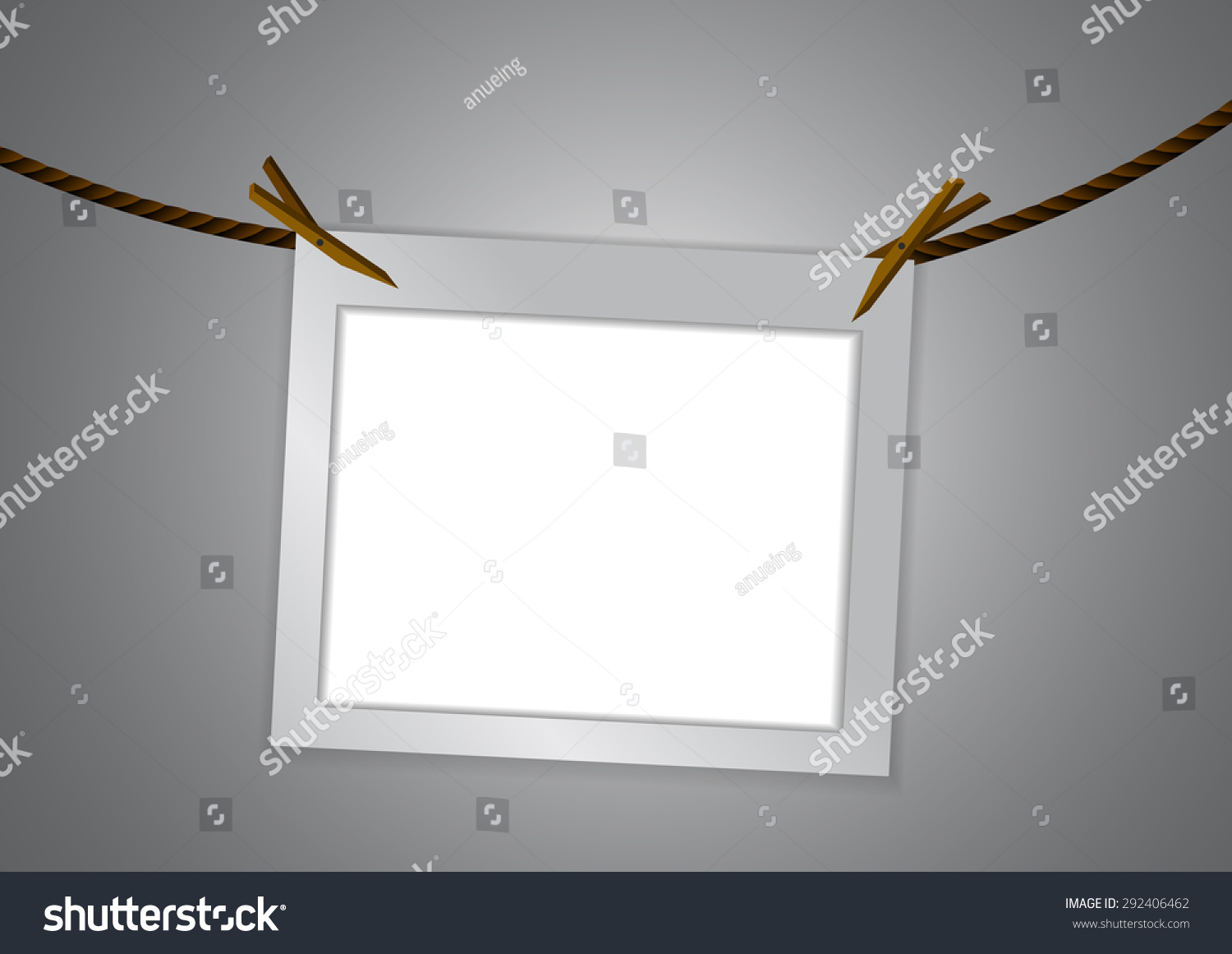 Vector Empty Frame Clothespin On Rope Stock Vector 292406462 ...