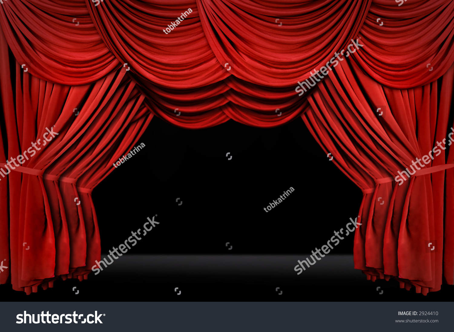 Stock photo dramatic red old fashioned elegant theater stage stock - Horozontal Old Fashioned Elegant Theater Stage With Velvet Curtains Leading Upstage In An Arch