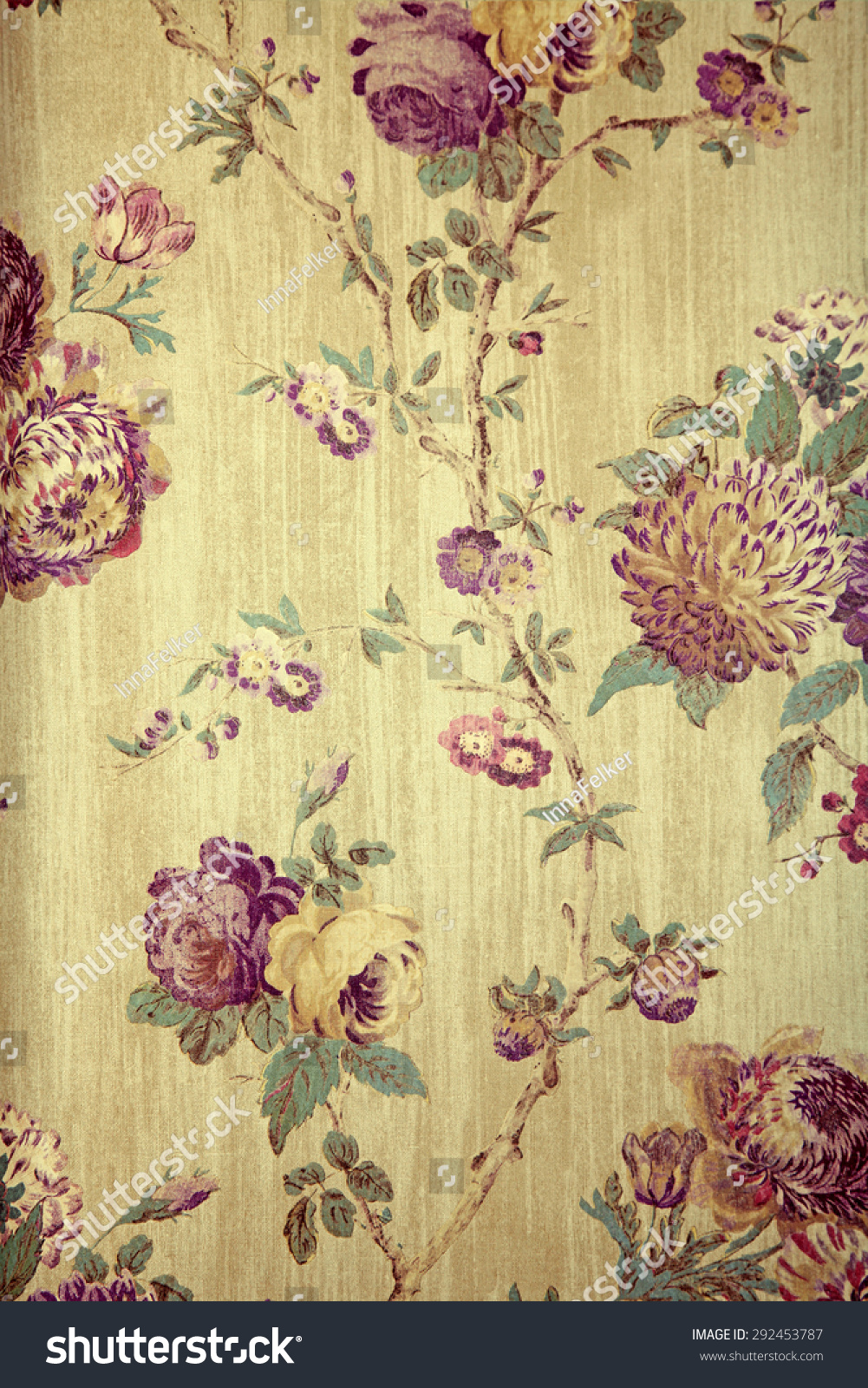 Vintage Beige Wallpaper Purple Victorian Floral Royalty Free