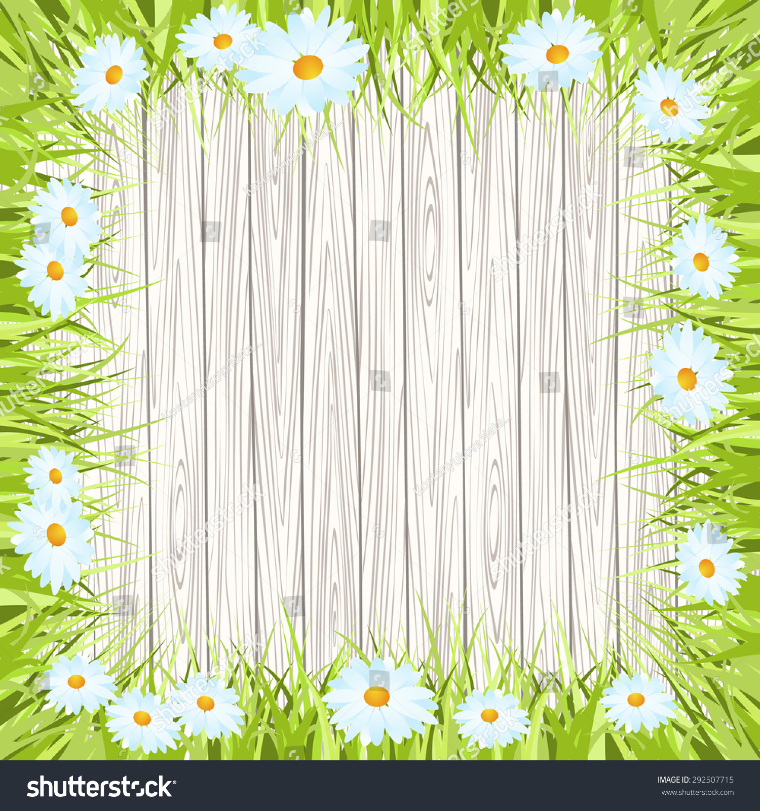 Spring Green Leaves And Flowers Background With Plants: Fresh Spring Green Grass Leaf Plant Stock Vector 292507715