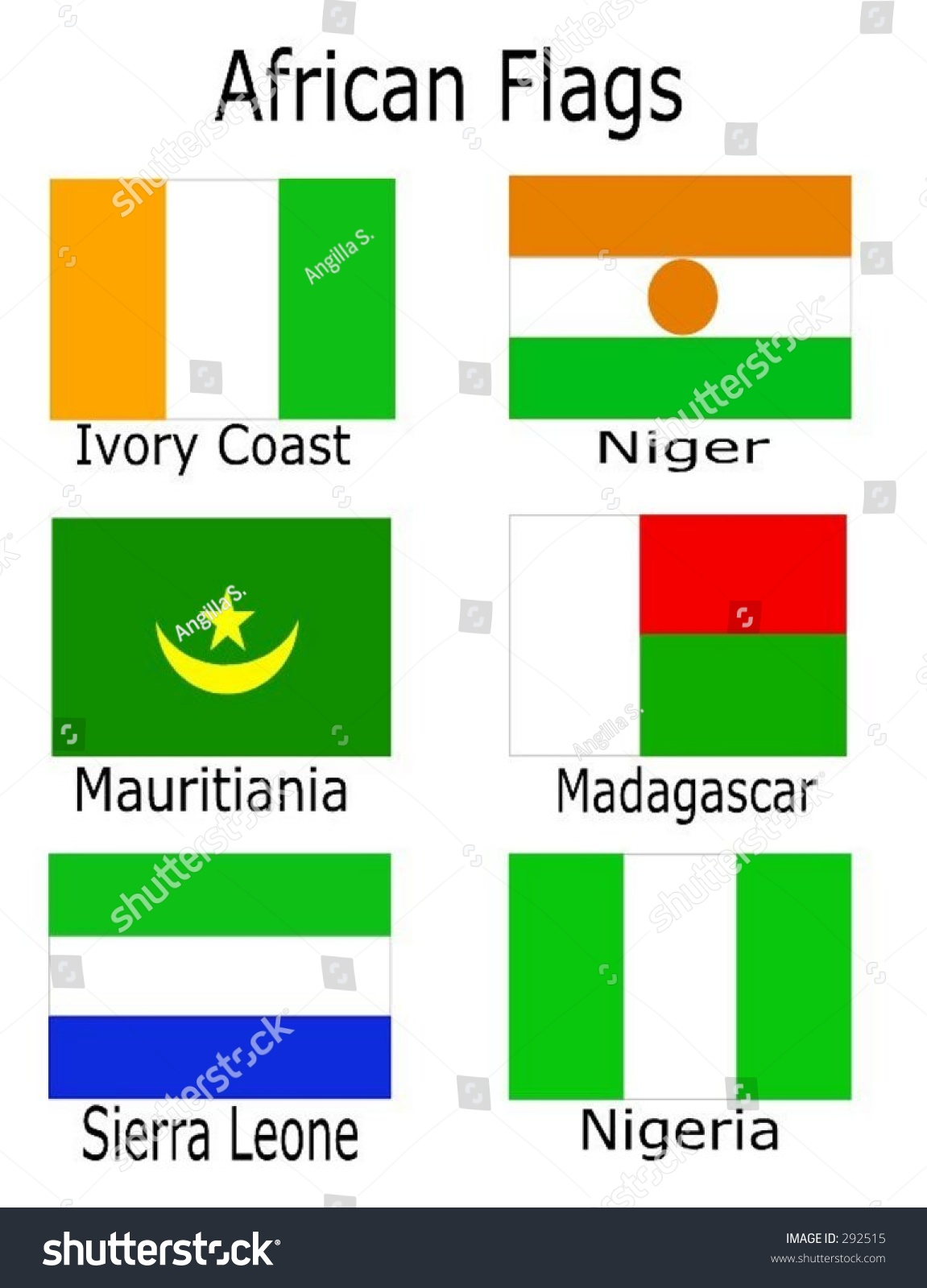 18 >> African Flags - Ivory Coast, Niger, Mauritiania, Madagascar, Sierra Leone, Nigeria Stock Vector ...